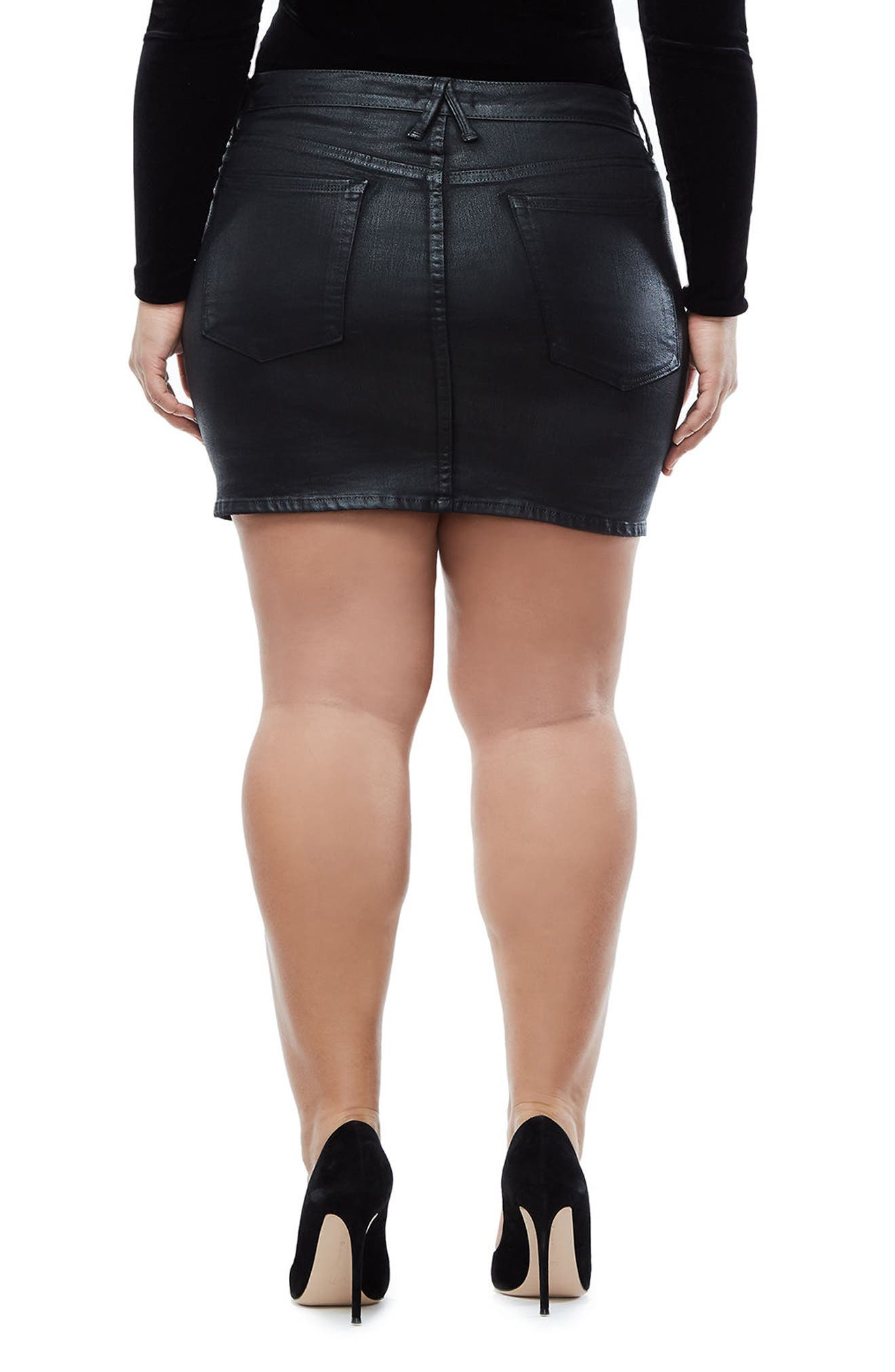 The Waxed Denim Miniskirt,                             Alternate thumbnail 7, color,                             BLACK