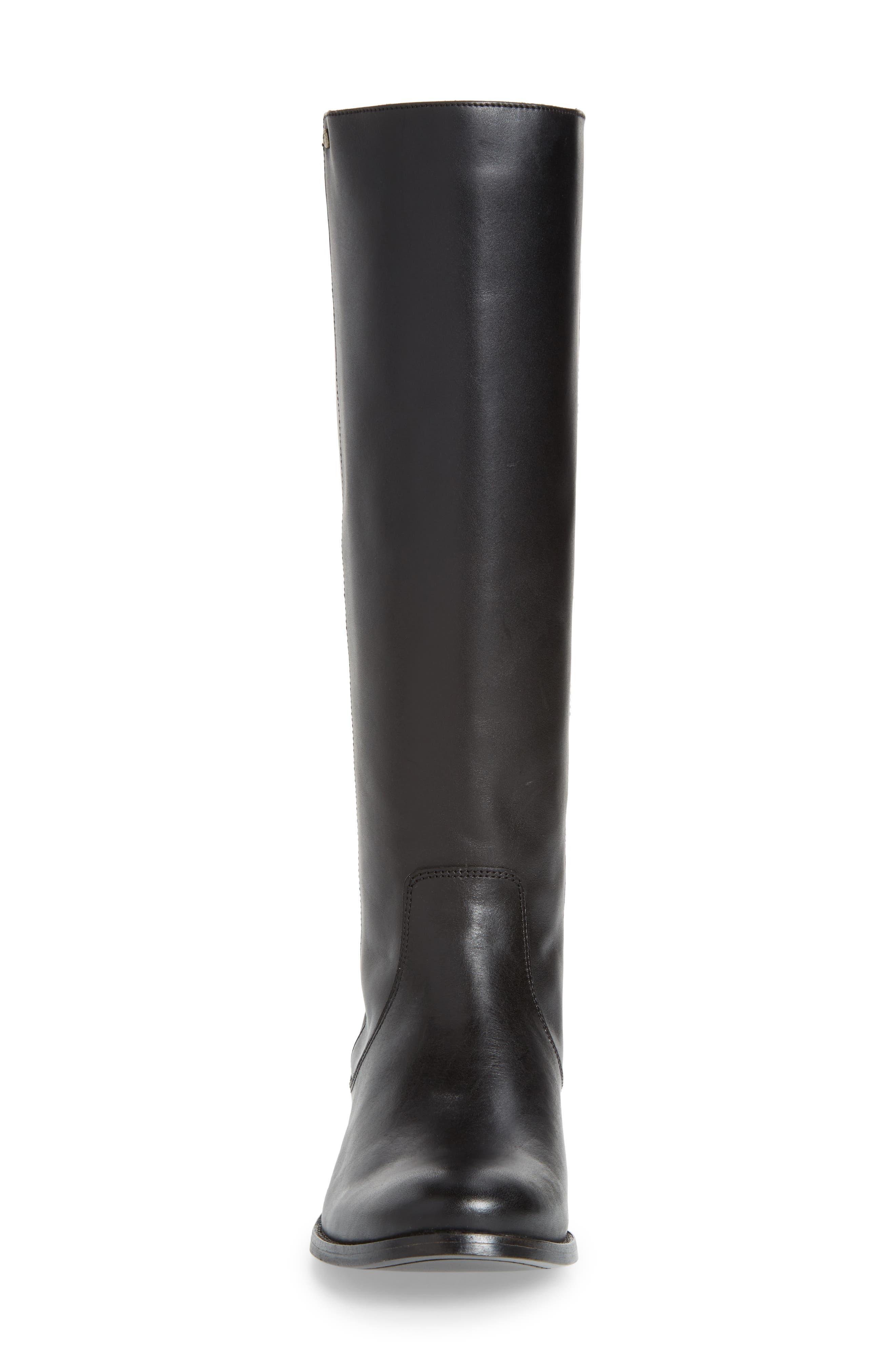Melissa Stud Knee High Boot,                             Alternate thumbnail 4, color,                             BLACK LEATHER