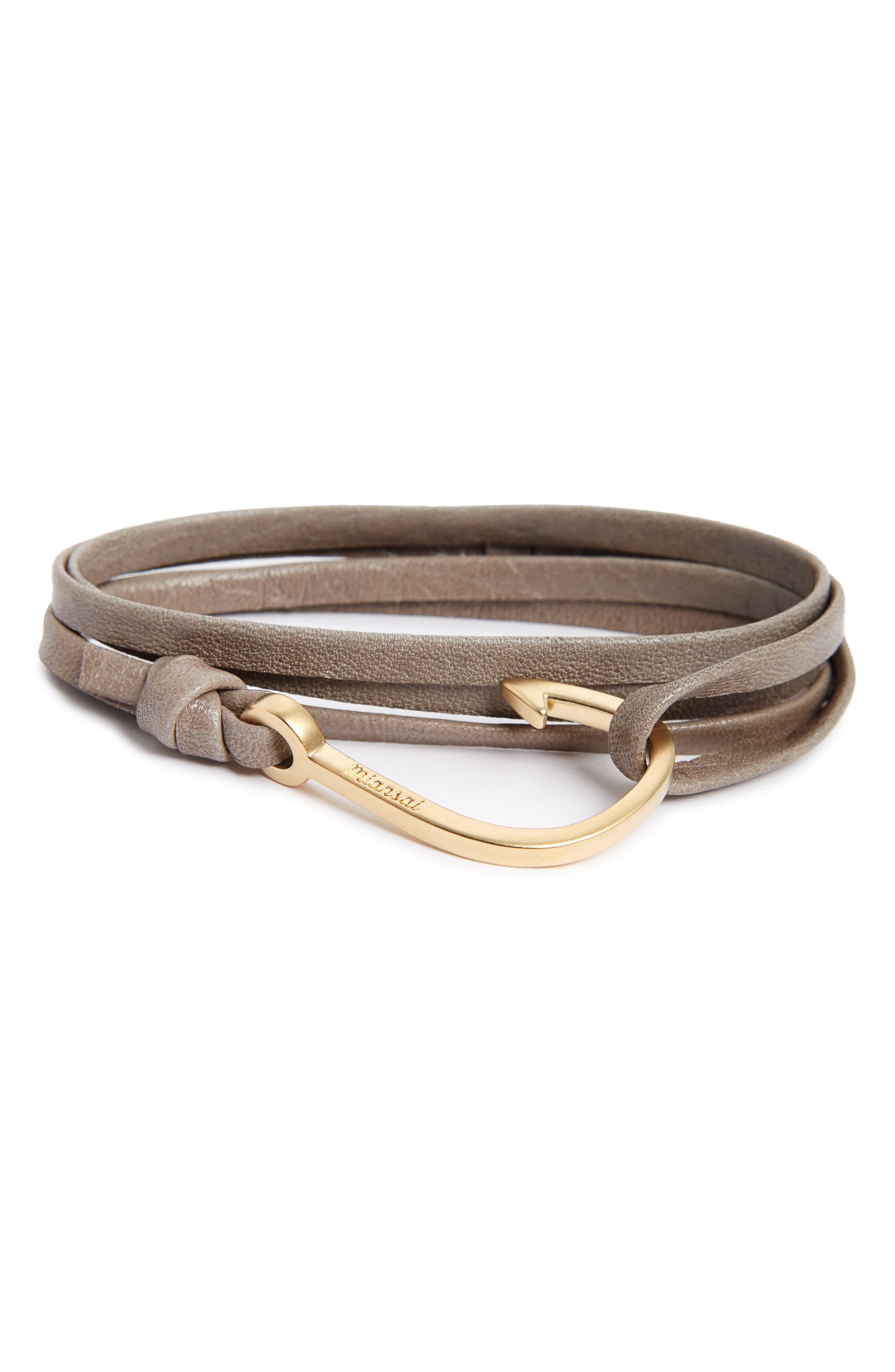 Hook On Leather Wrap Bracelet,                             Alternate thumbnail 3, color,