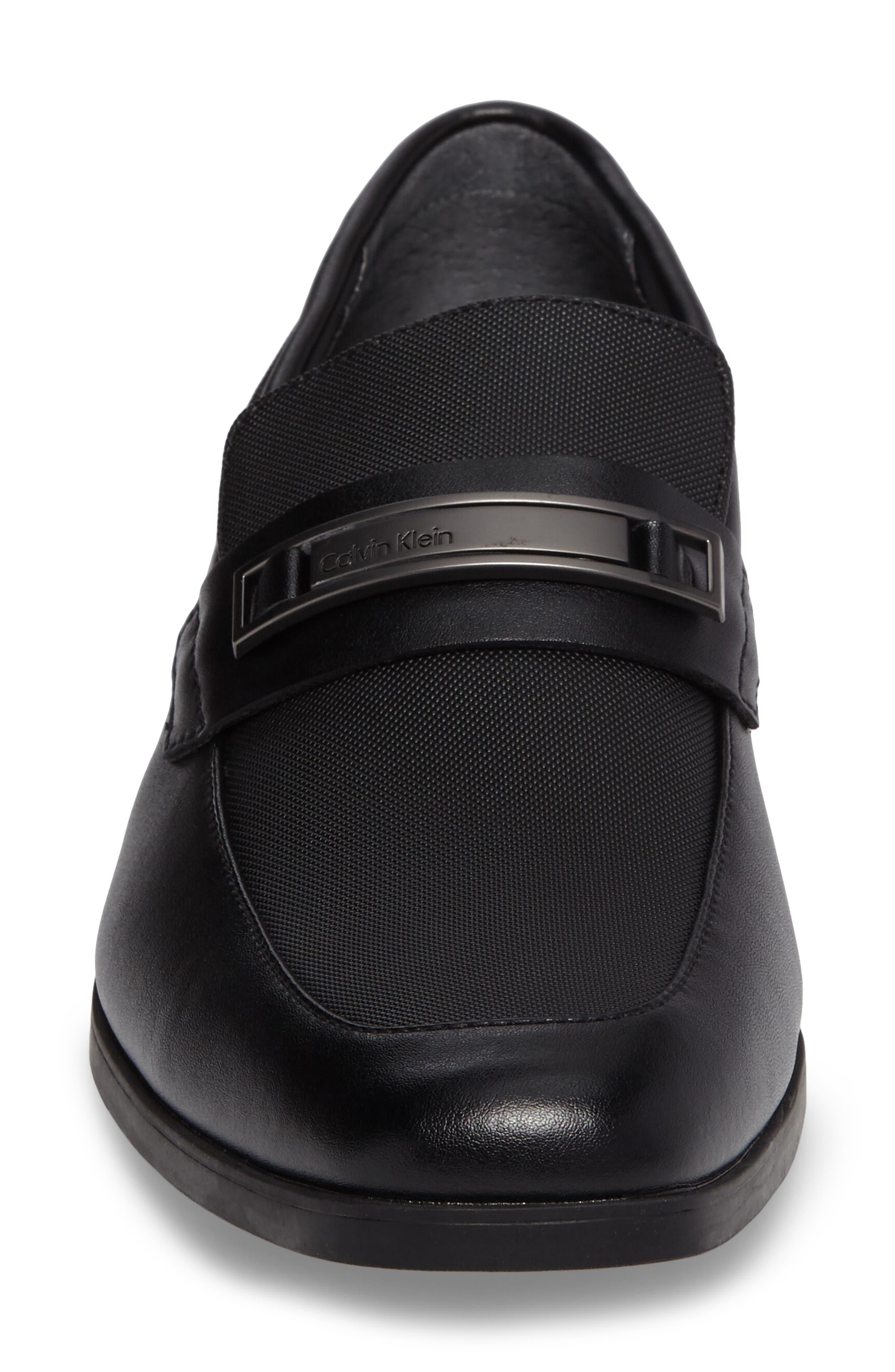 Jameson Emossed Loafer,                             Alternate thumbnail 4, color,                             BLACK LEATHER