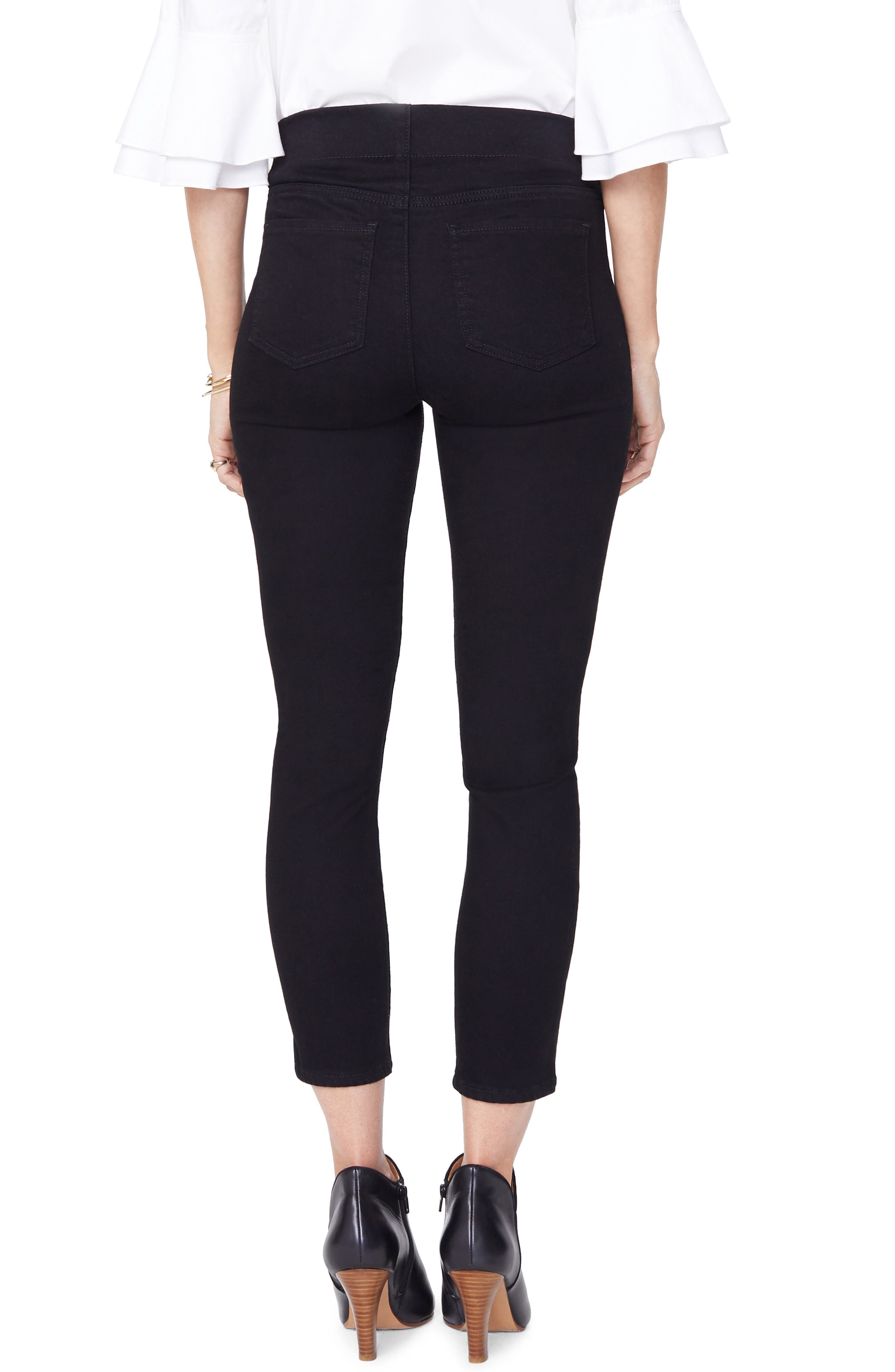 Alina High Waist Pull-On Ankle Skinny Jeans,                             Alternate thumbnail 2, color,                             BLACK