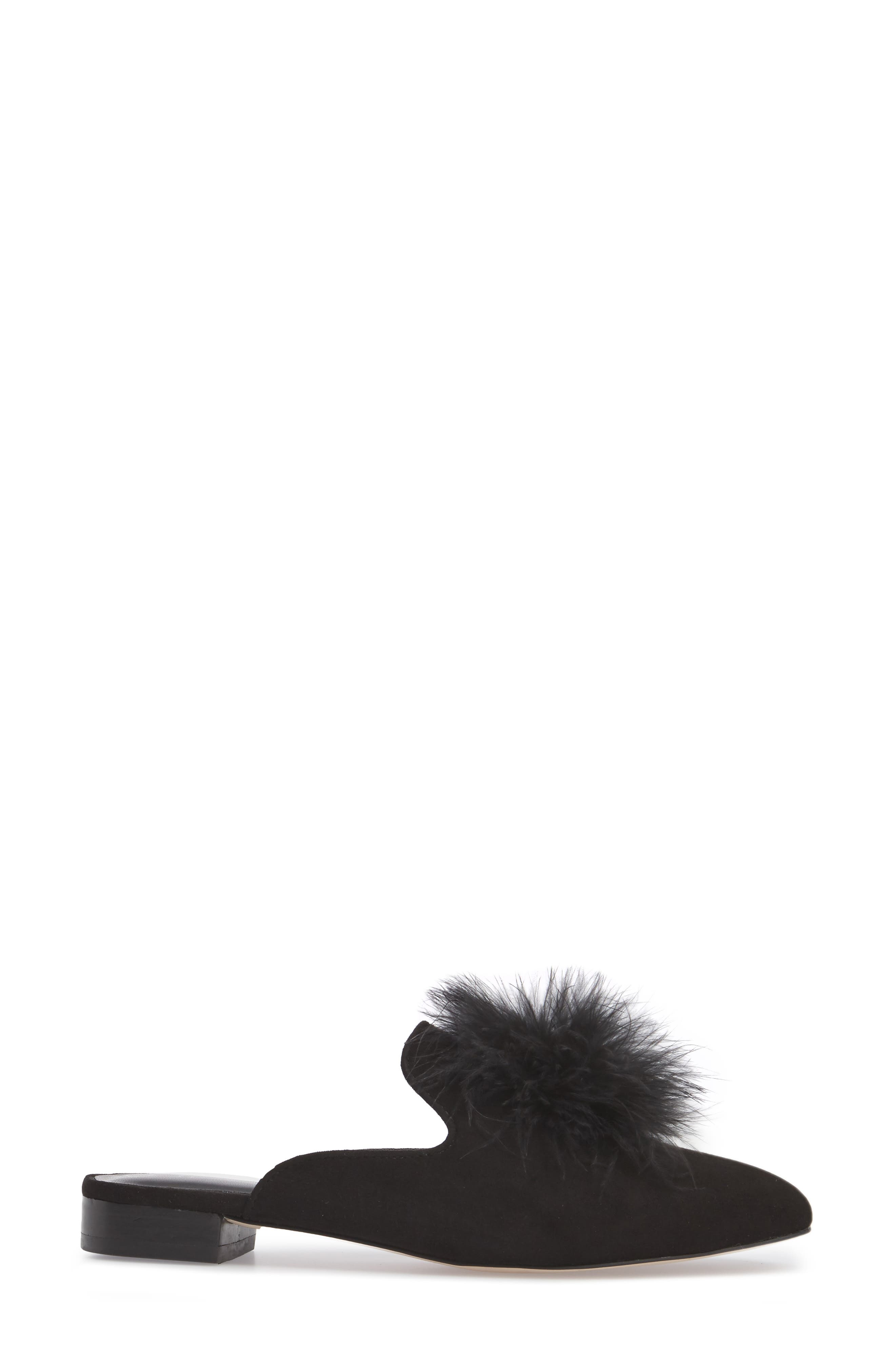 Cleona Feather Pompom Mule,                             Alternate thumbnail 3, color,                             001