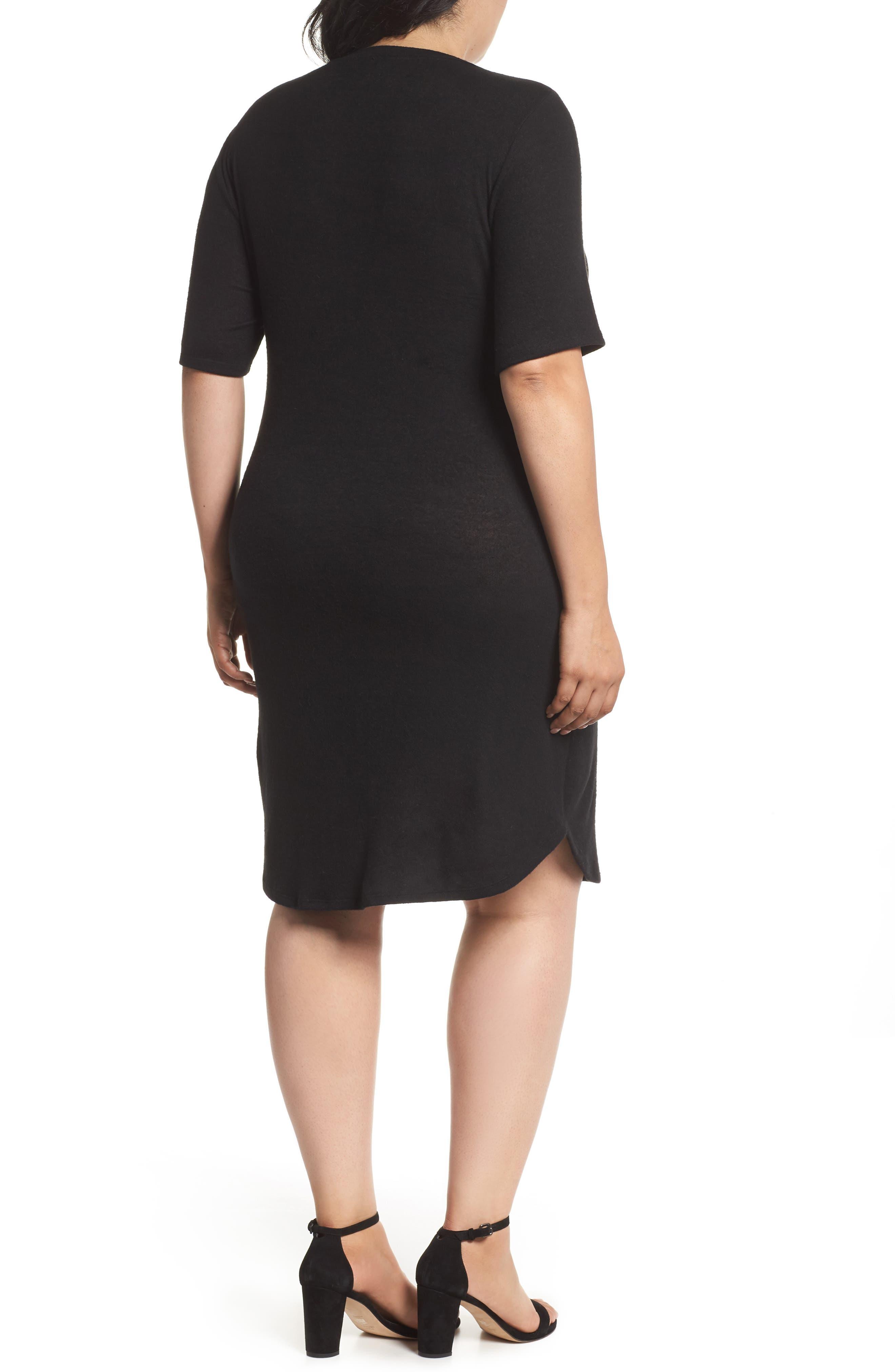Off-Duty Tie Front Knit Dress,                             Alternate thumbnail 2, color,                             001