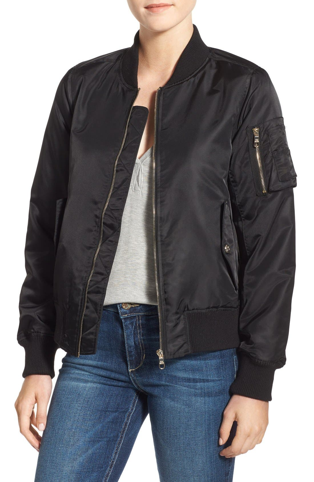 Side Zip Bomber Jacket,                             Main thumbnail 1, color,                             001