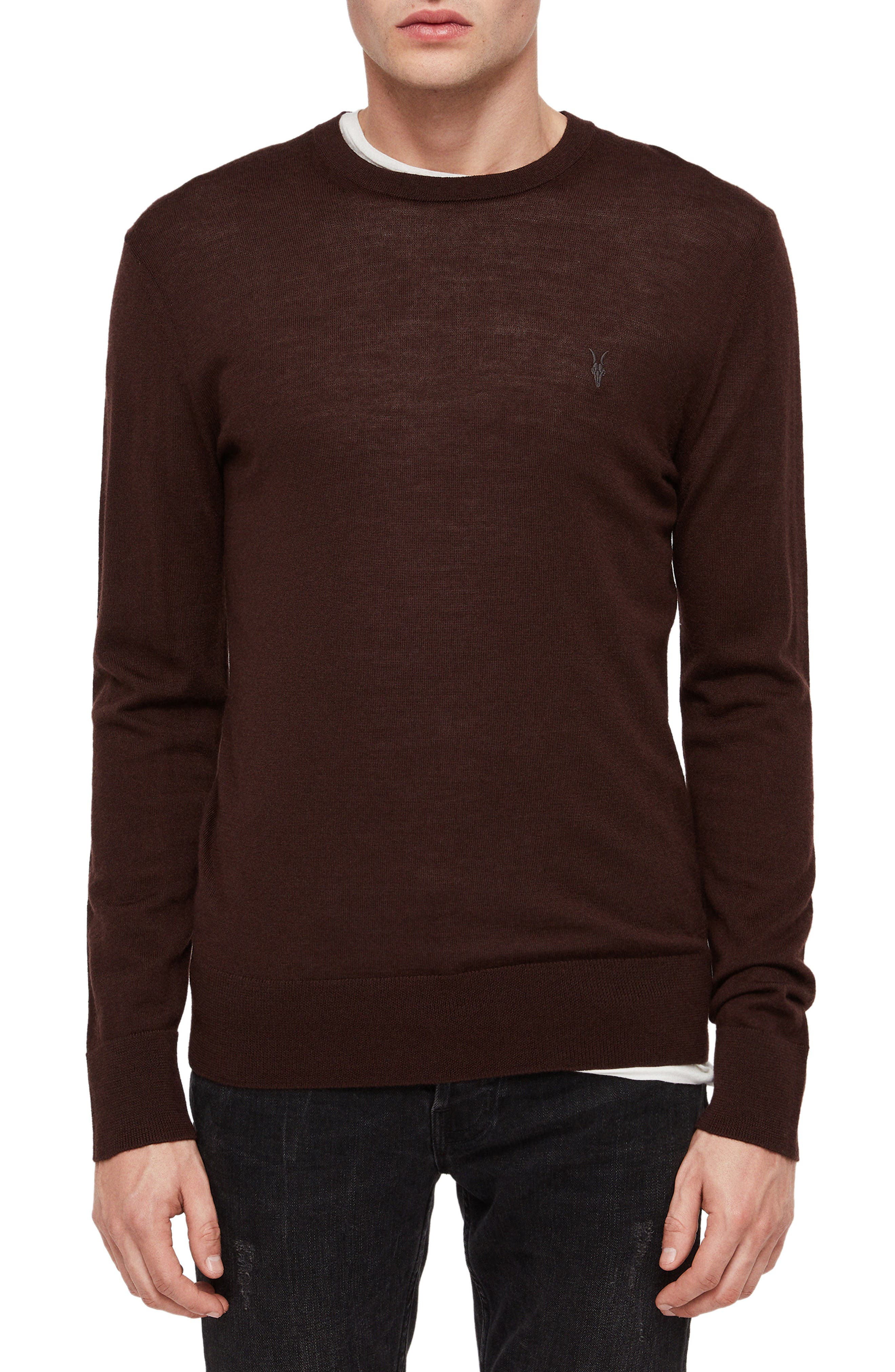 Allsaints Mode Slim Fit Merino Wool Sweater, Red