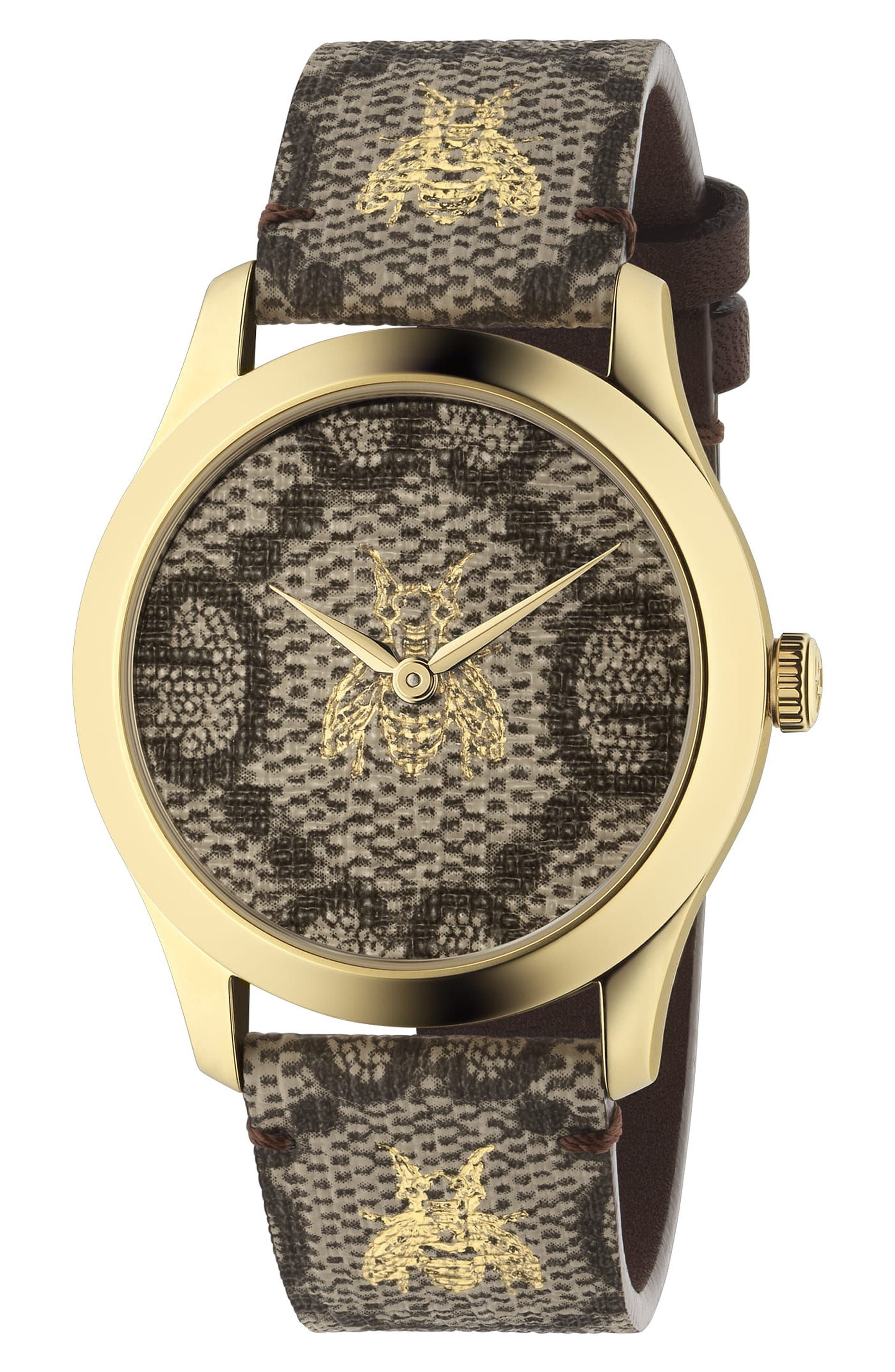 G-Timeless Canvas Strap Watch, 37mm,                         Main,                         color, BROWN/ GOLD