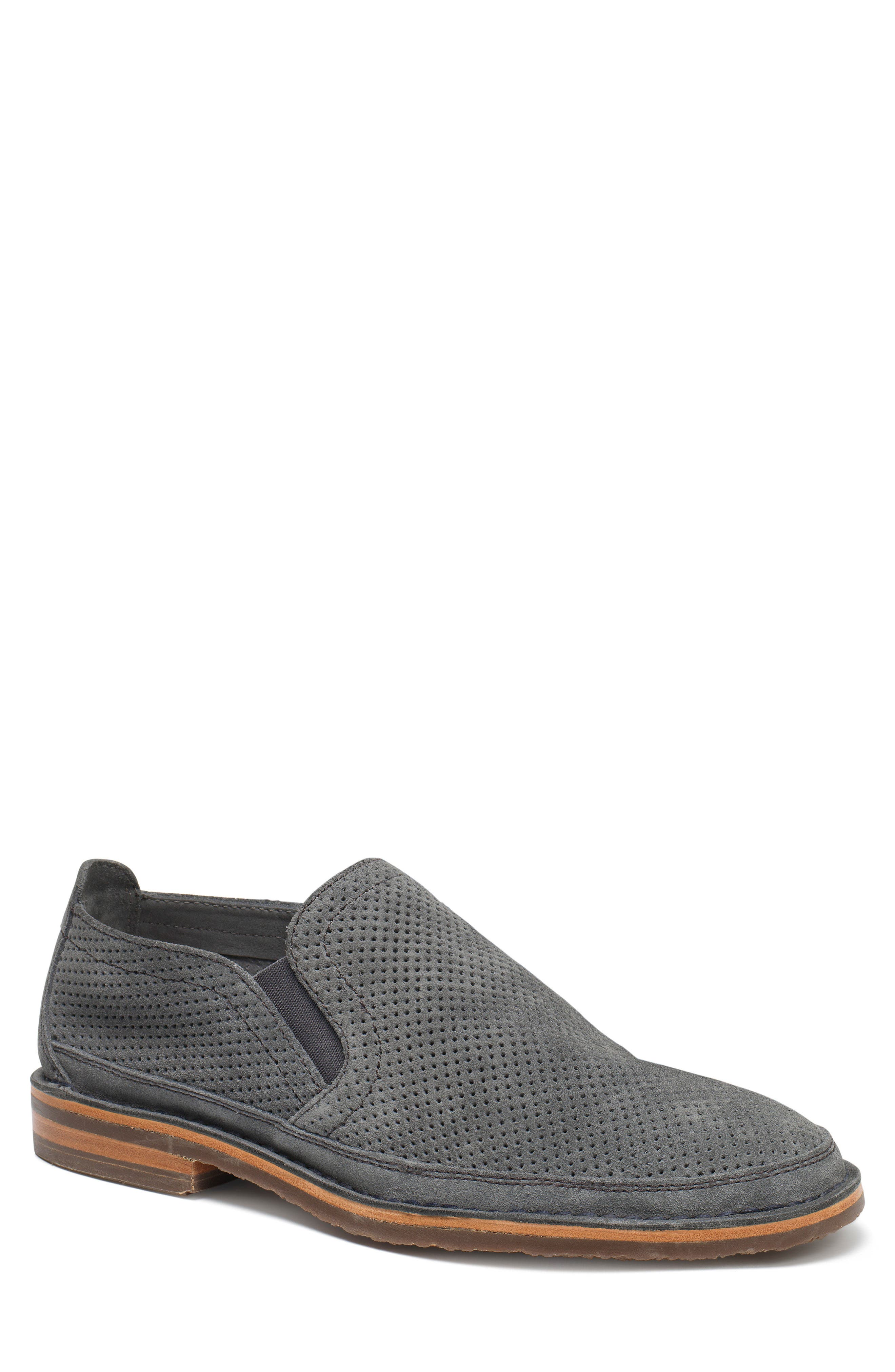 TRASK Bradley Perforated Slip-On, Main, color, SLATE GREY SUEDE