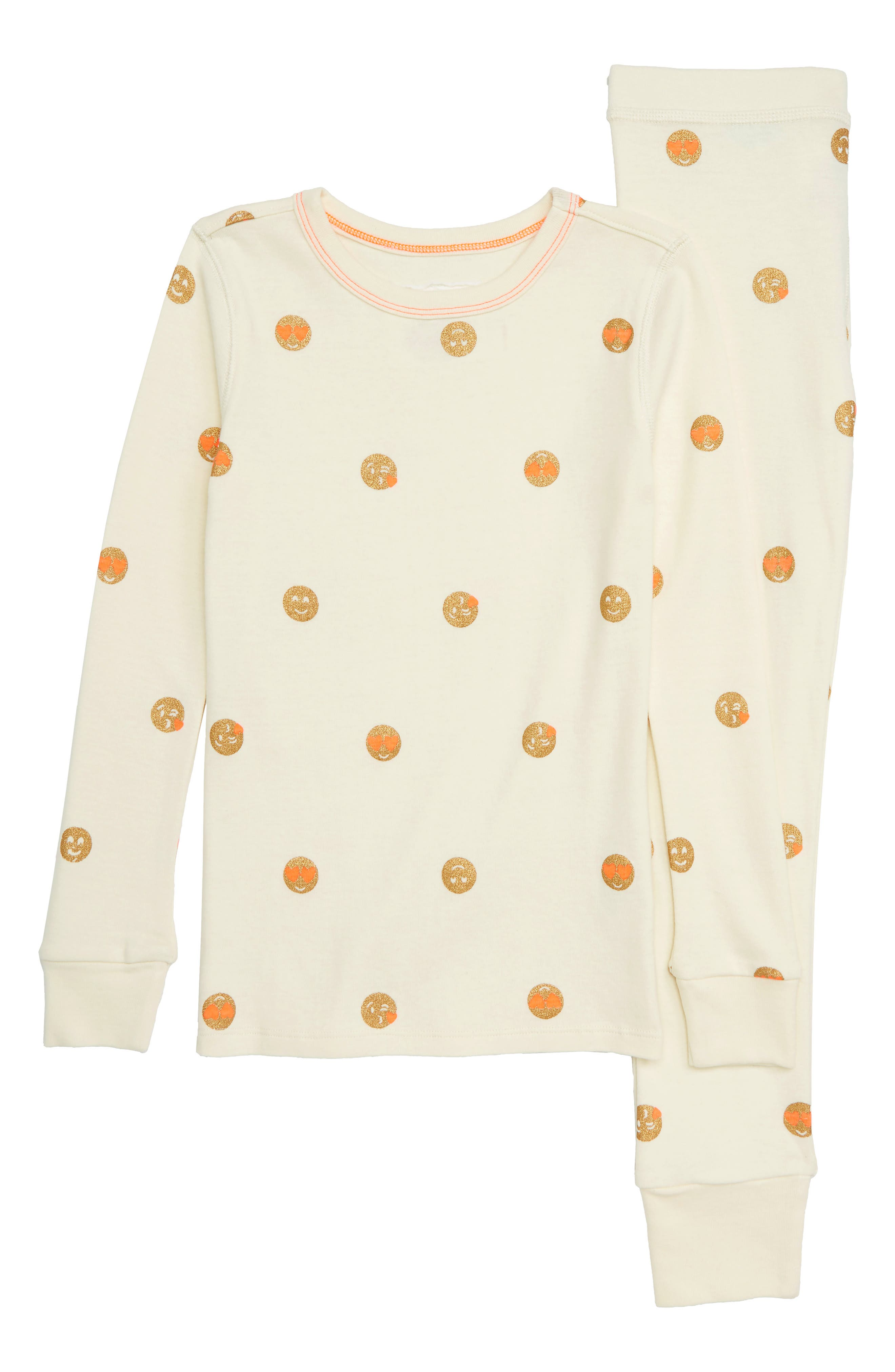 Emoji Fitted Two-Piece Pajamas,                         Main,                         color, IVORY GOLD PERSIMMON
