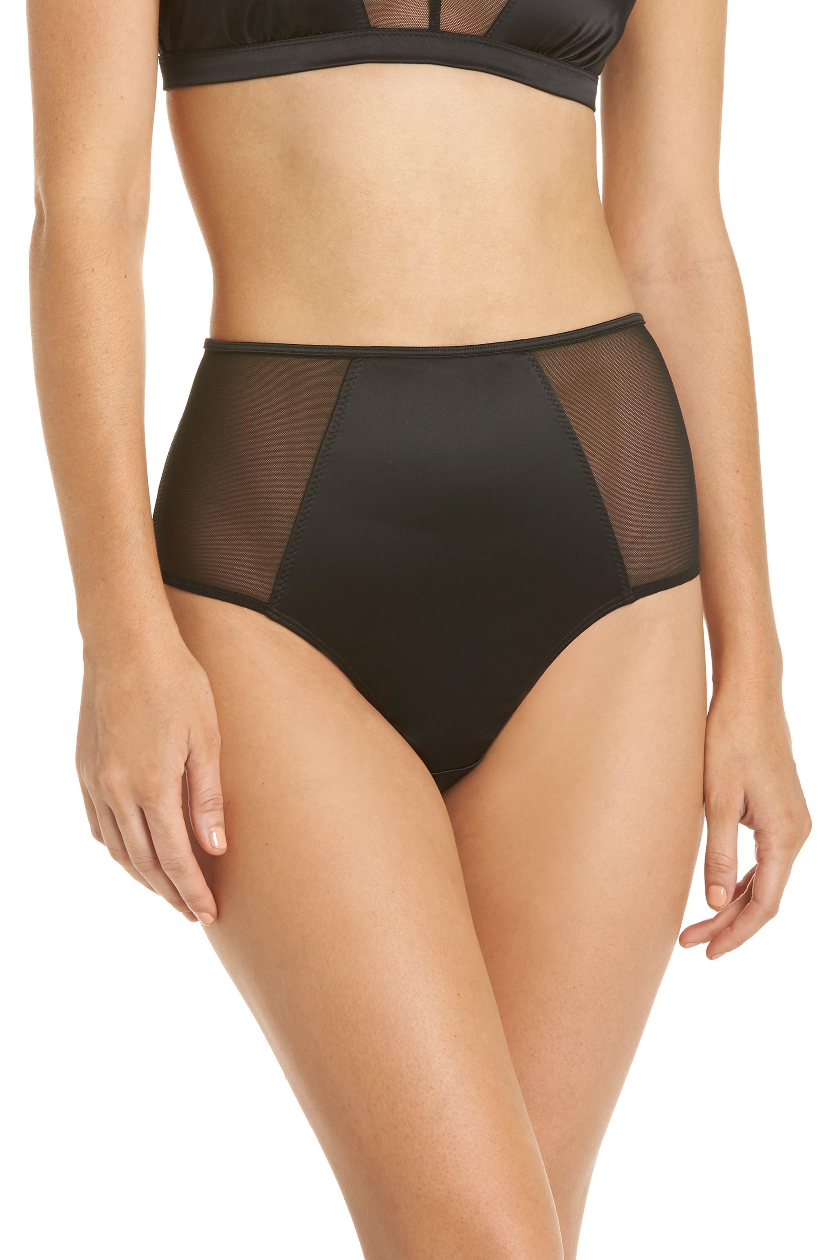 1950s Lingerie History – Bras, Girdles, Slips, Panties, Garters Womens Halogen Luster High Waist Panties Size Small - Black $19.00 AT vintagedancer.com