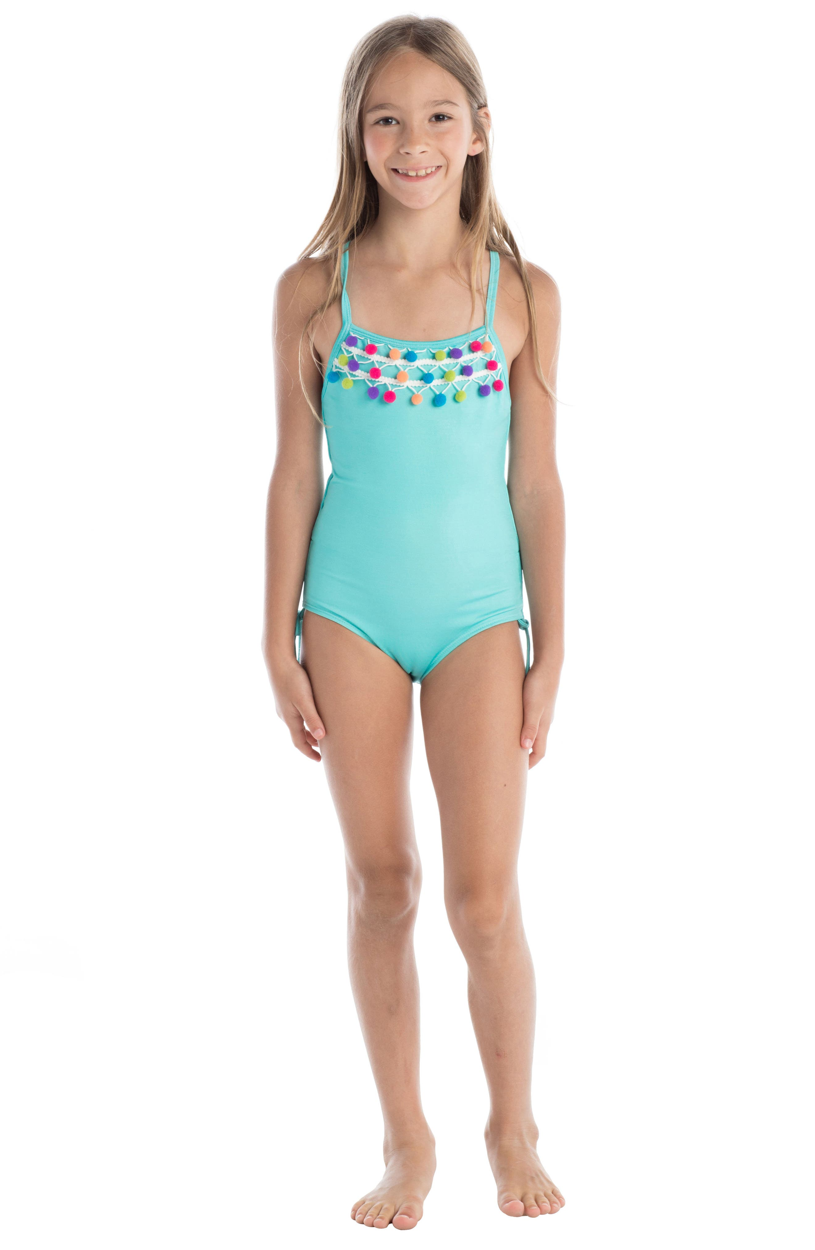 Pompom One-Piece Swimsuit,                             Alternate thumbnail 2, color,                             400