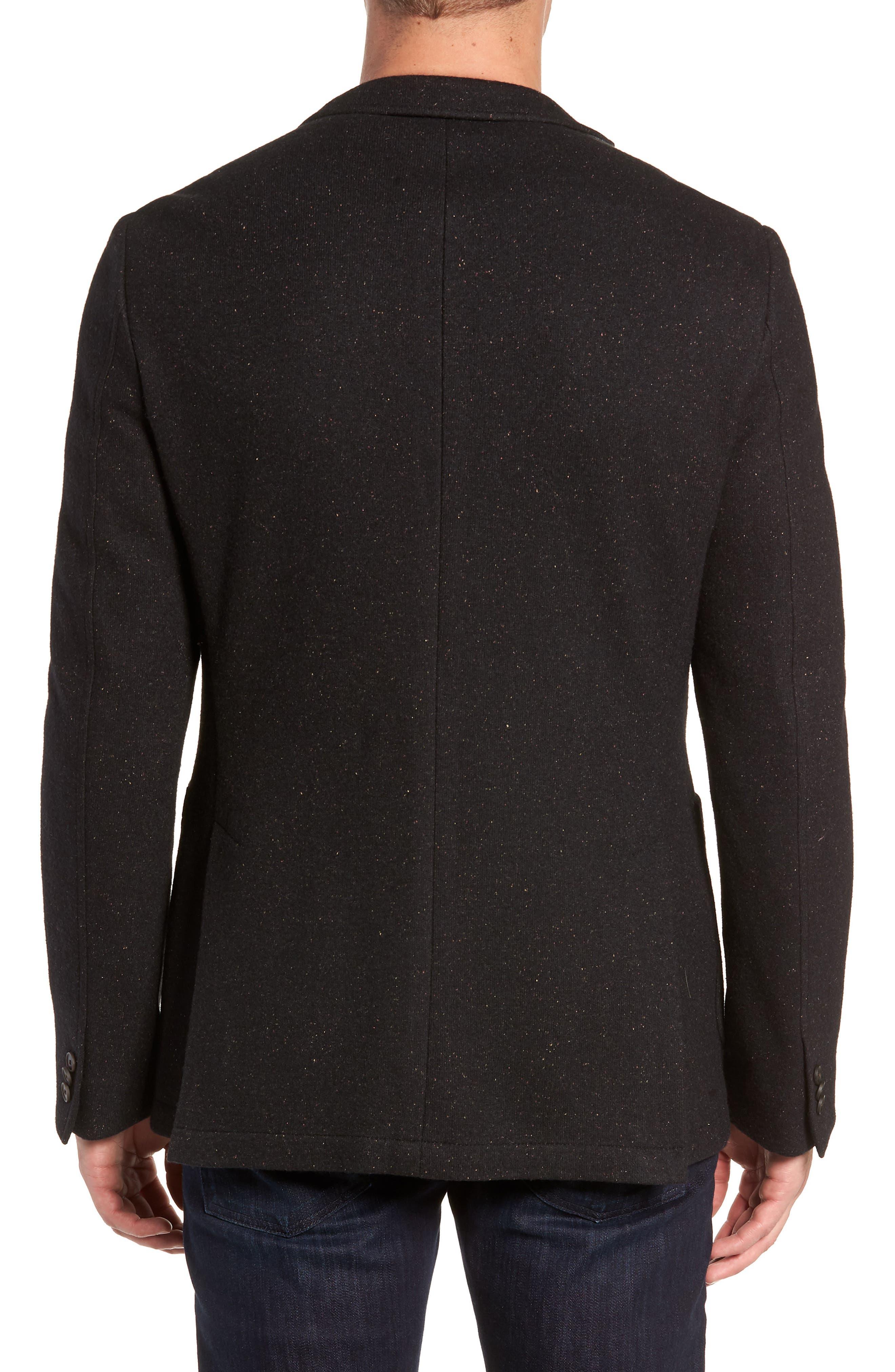 White Solid Cotton Blend Sport Coat,                             Alternate thumbnail 2, color,                             BLACK