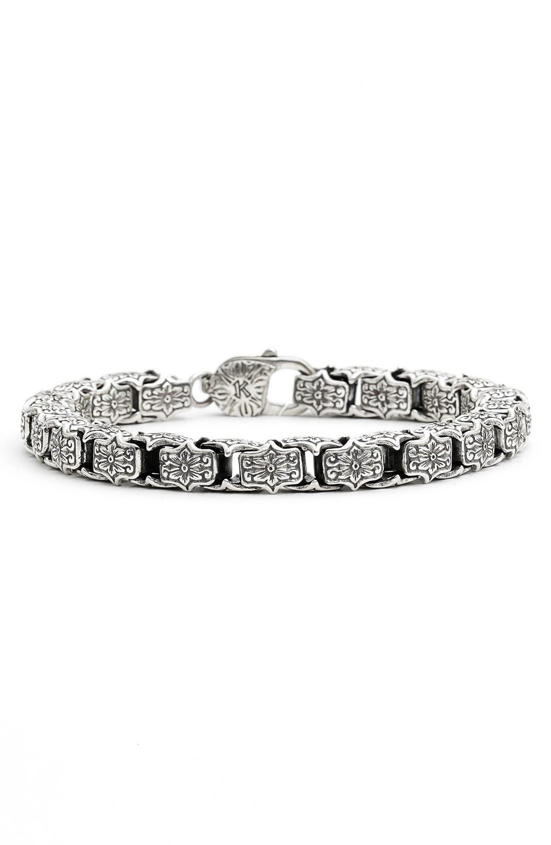 'Minos' Etched Medium Link Bracelet,                         Main,                         color, SILVER
