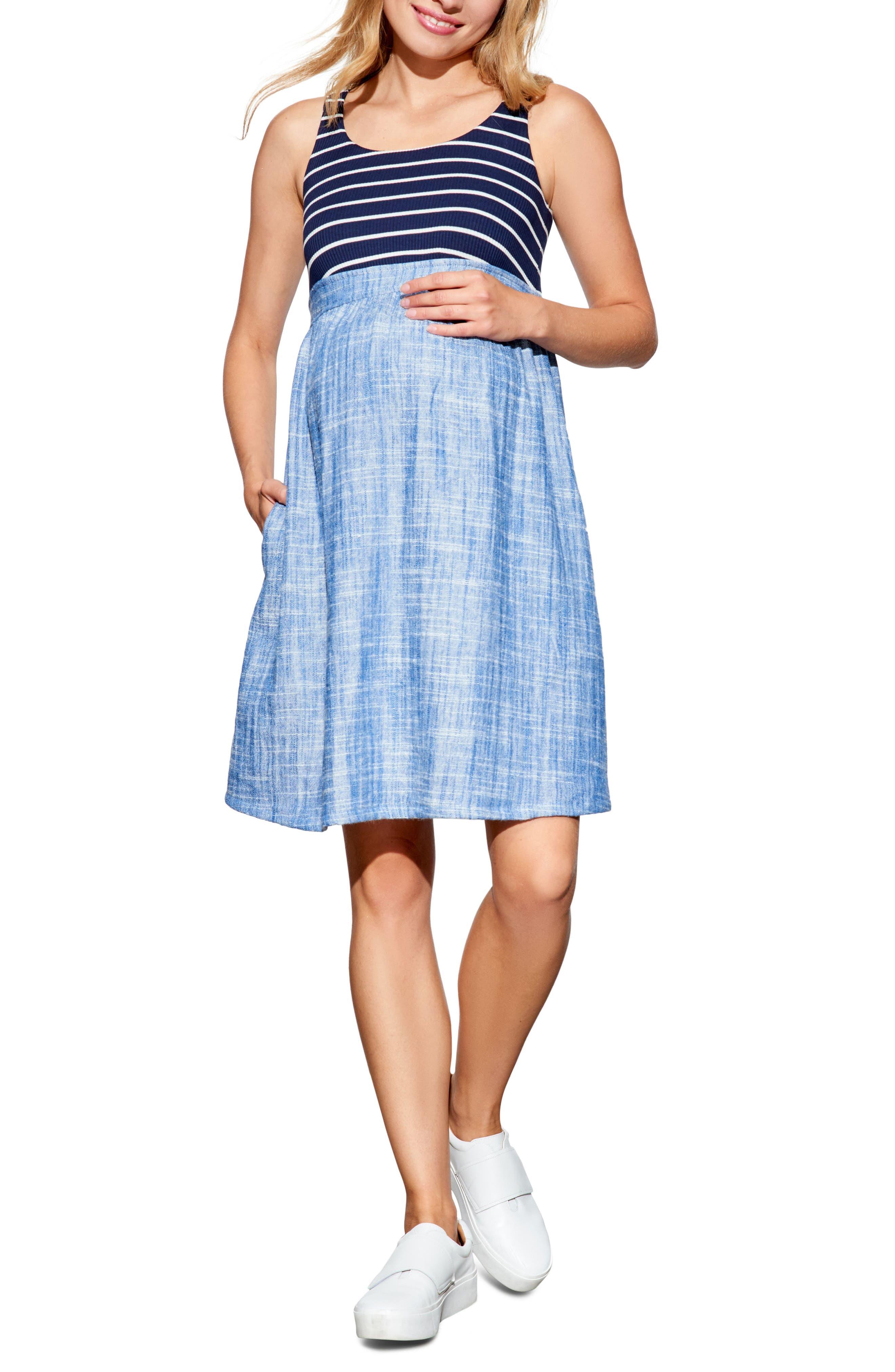 Maternal America Empire Waist Maternity Dress, Blue