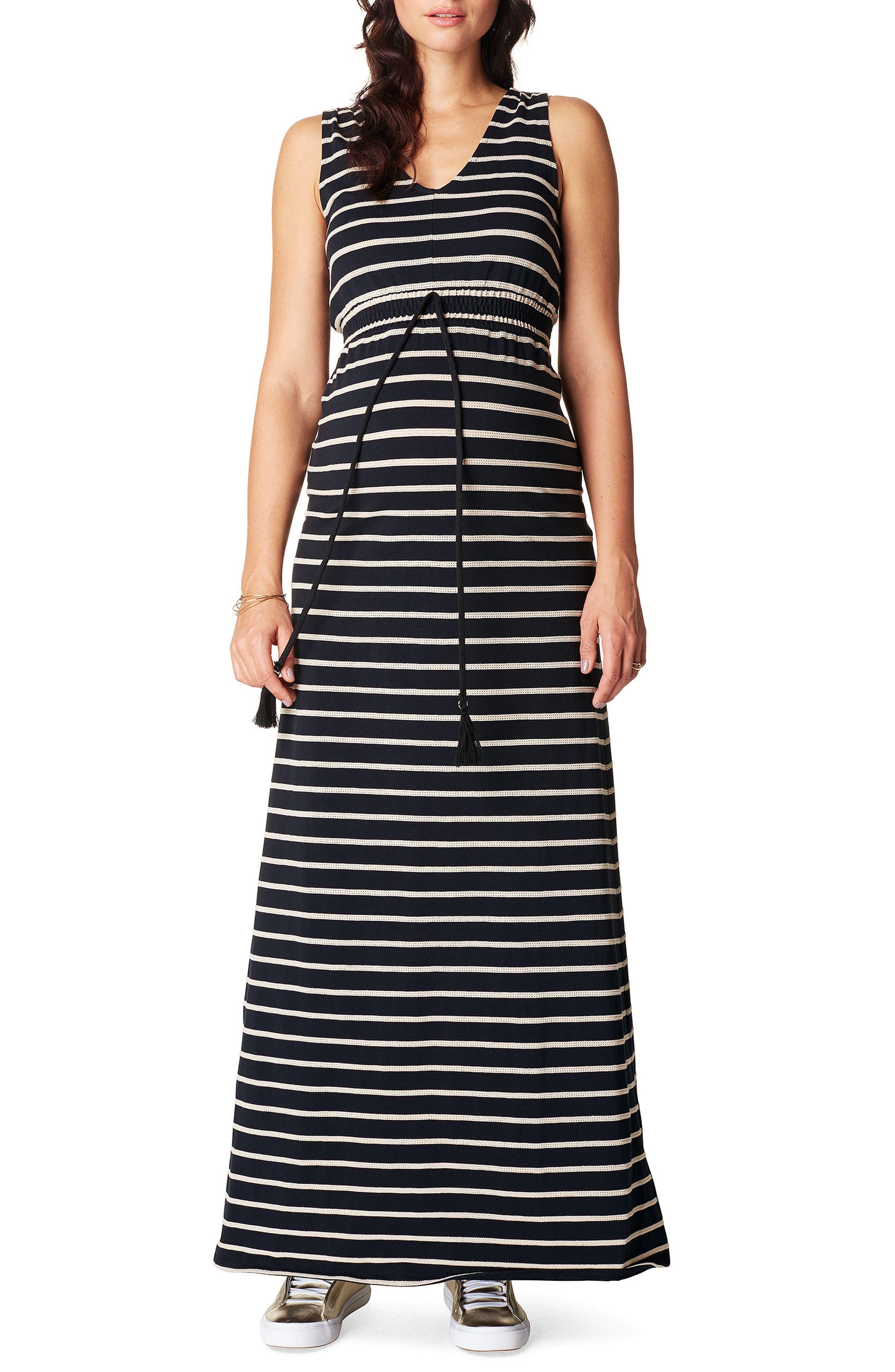 Mila Maternity Maxi Dress,                         Main,                         color, BLACK