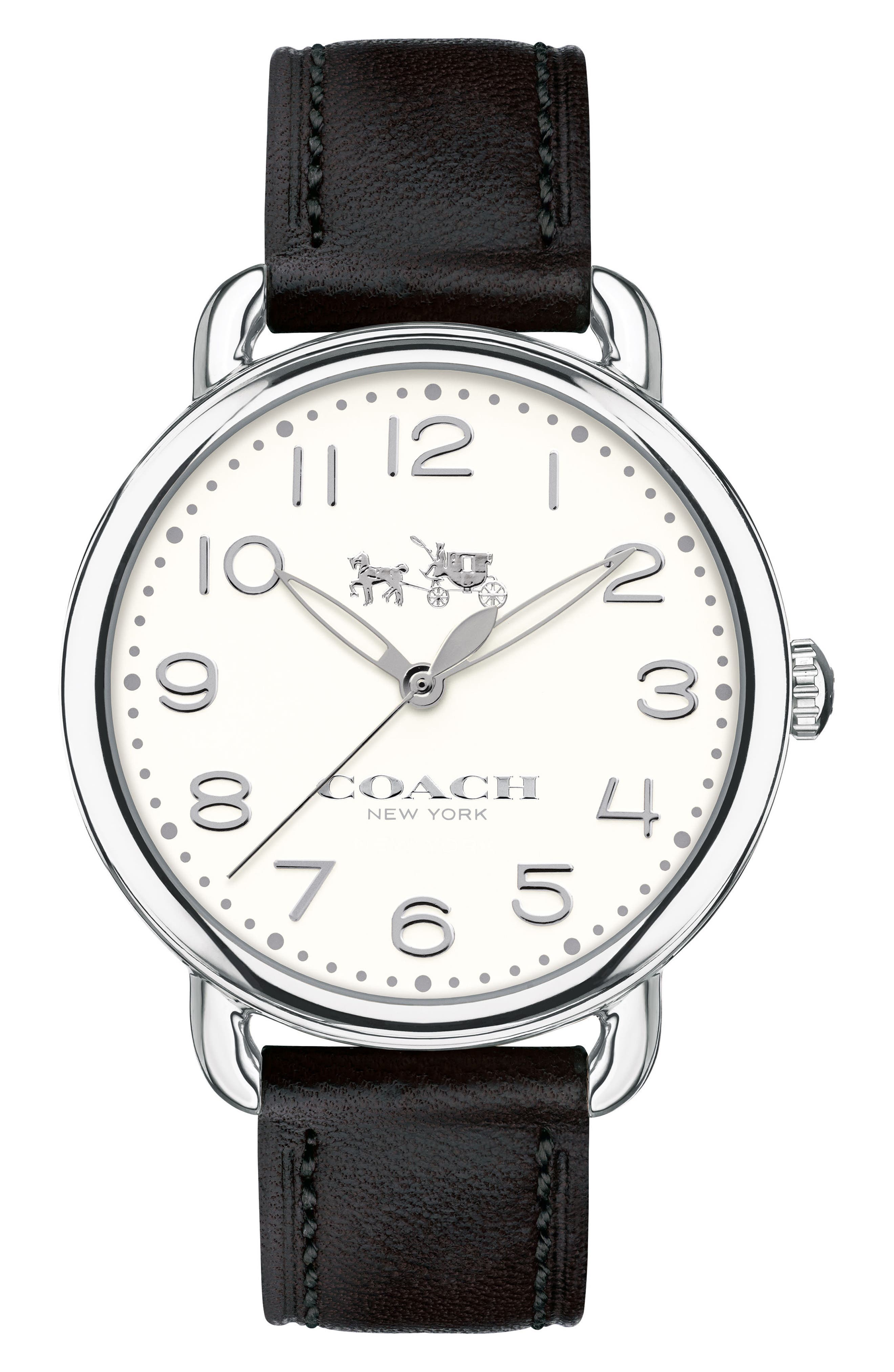 COACH Delancey Leather Strap Watch, 36mm, Main, color, 001