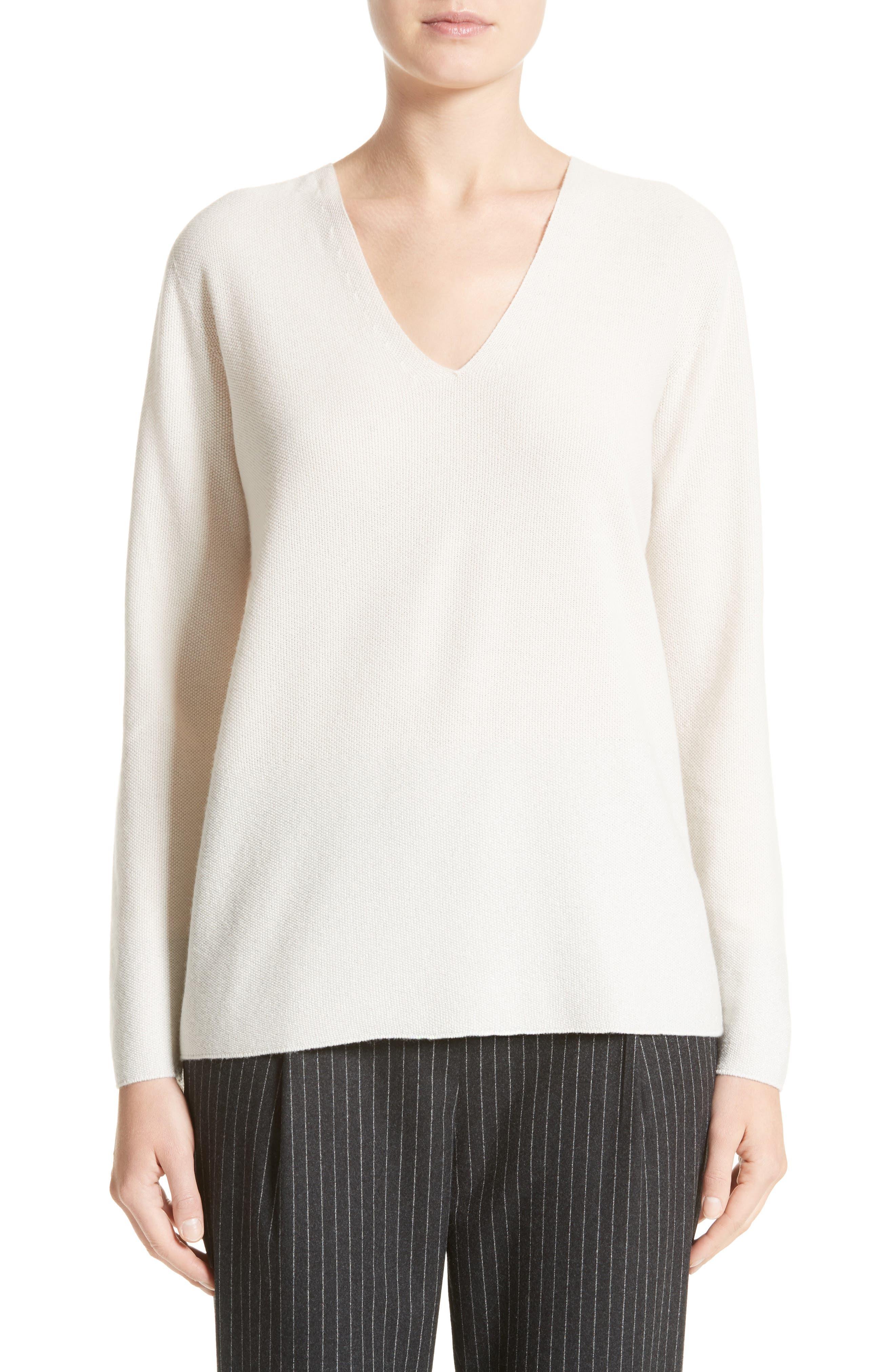Wool, Silk & Cashmere Micro Popcorn Stitch Sweater,                             Main thumbnail 1, color,                             101