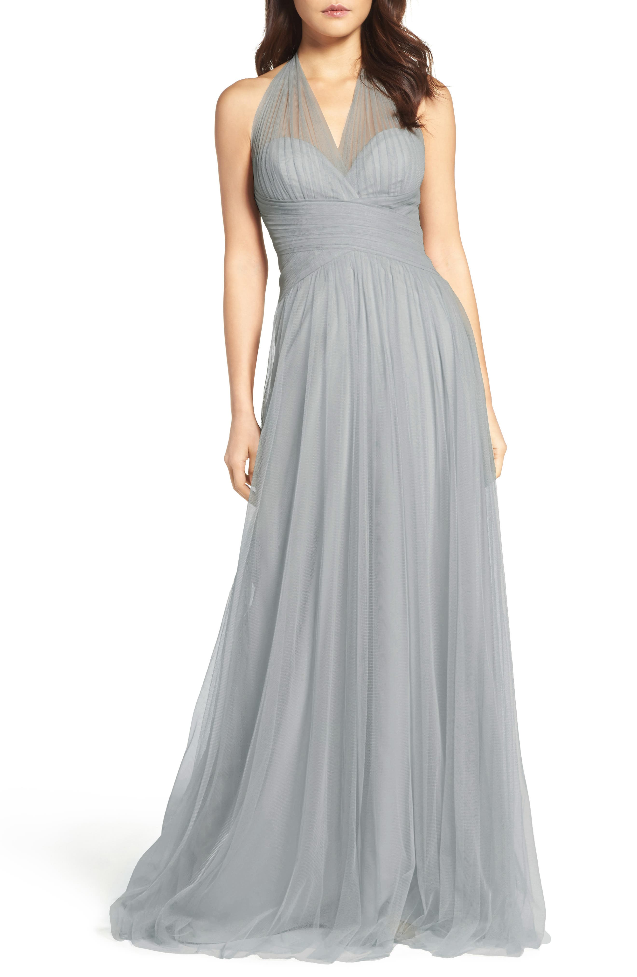 Halter Tulle A-Line Gown,                             Alternate thumbnail 3, color,                             FRENCH BLUE