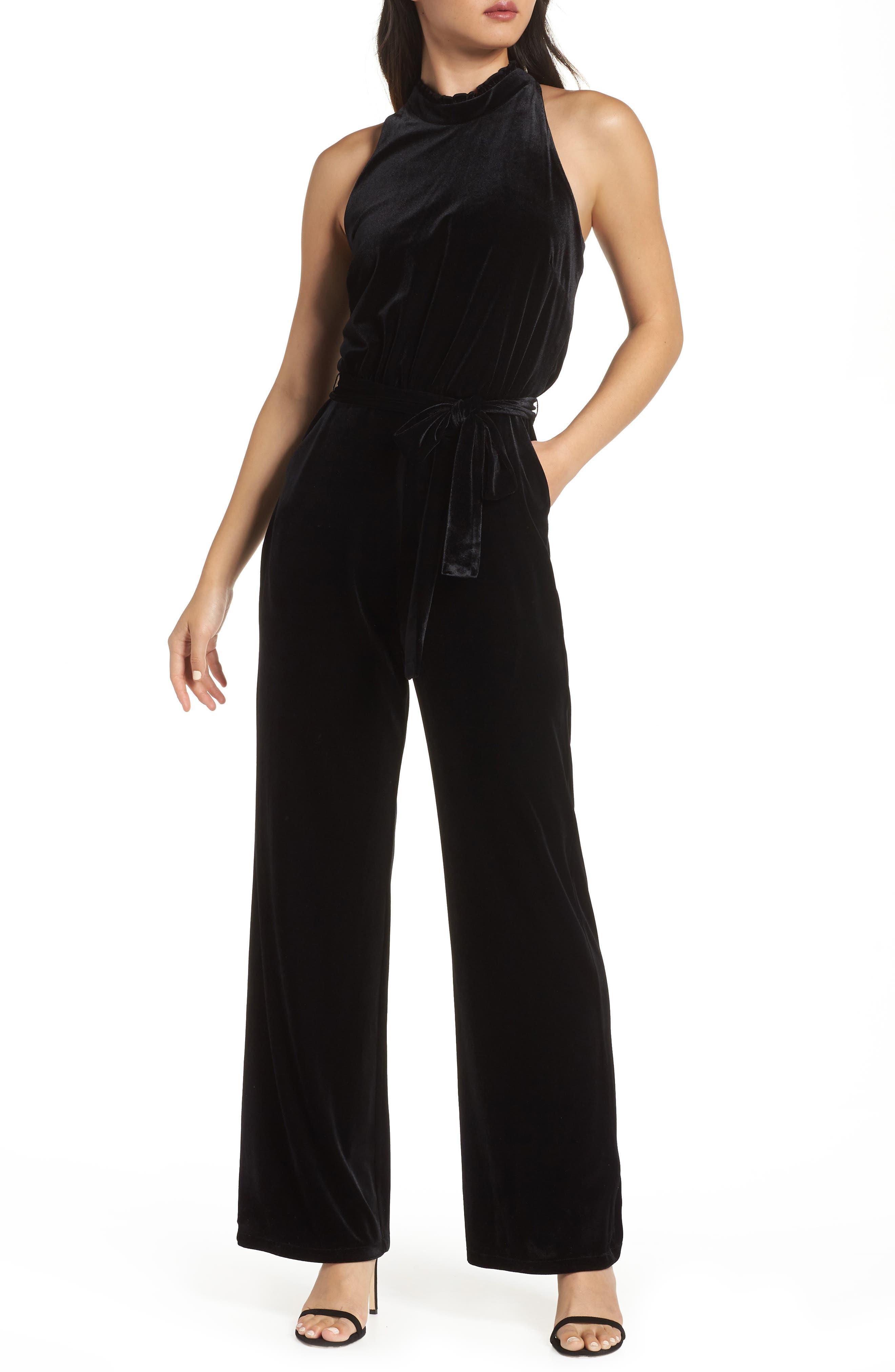 Ruffle Neck Velvet Jumpsuit,                         Main,                         color, BLACK