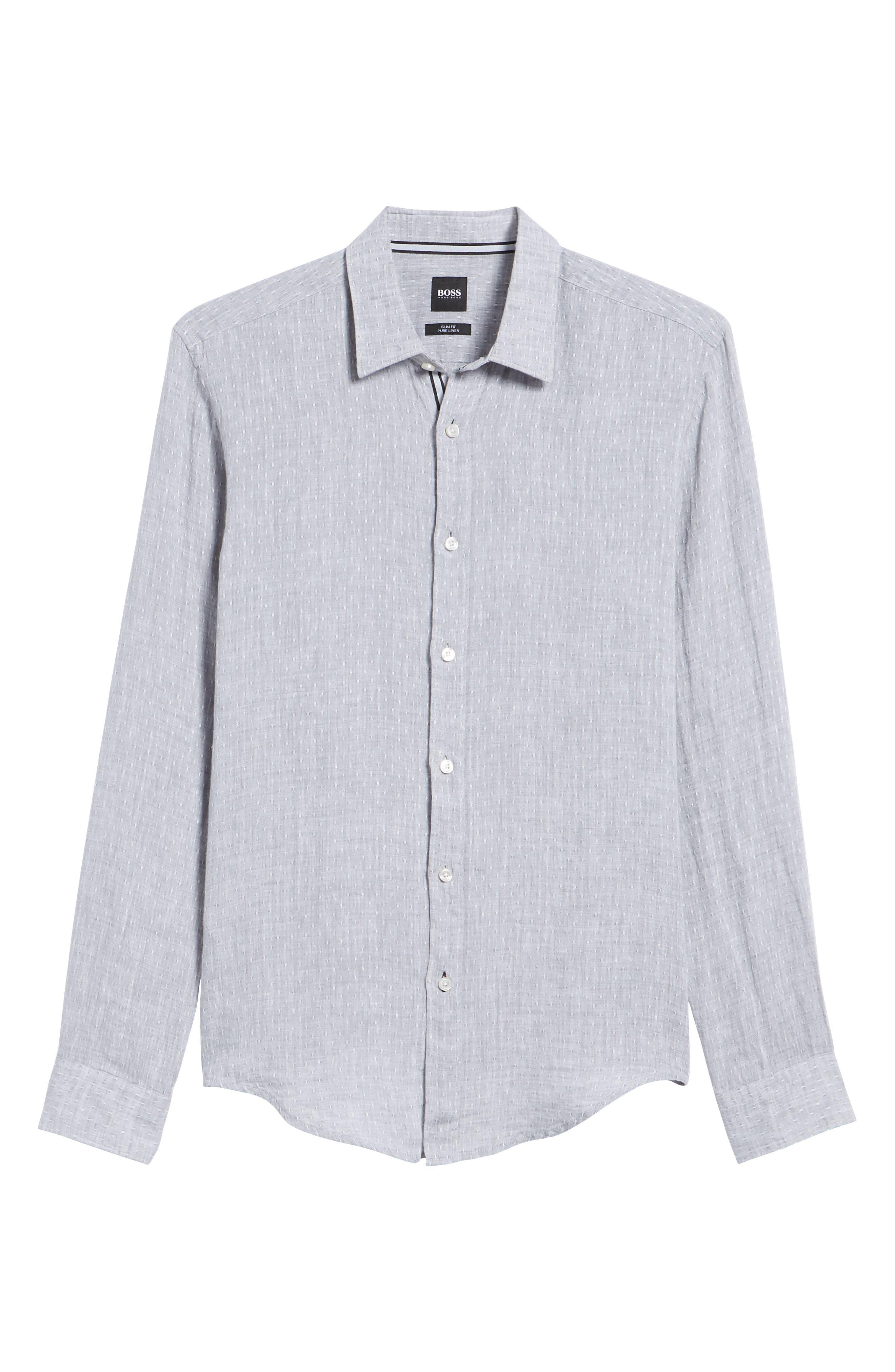 Ronni Slim Fit Dobby Linen Sport Shirt,                             Alternate thumbnail 6, color,                             071