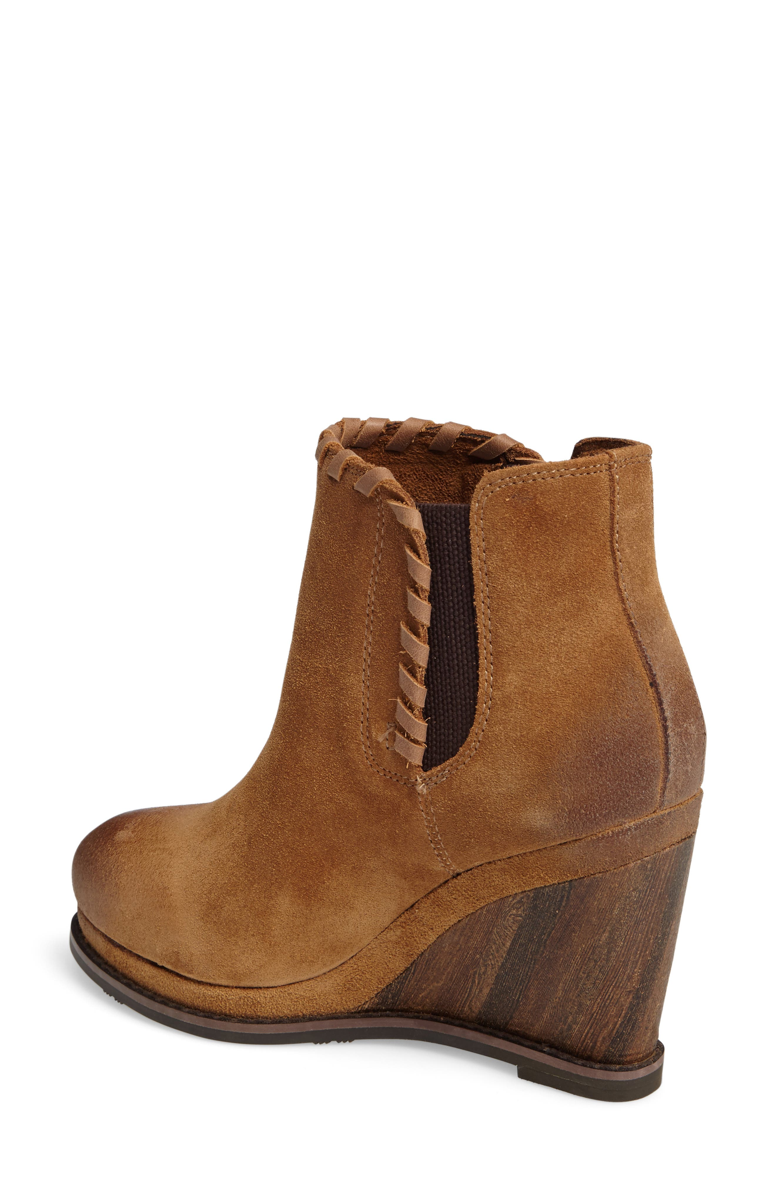 Belle Wedge Bootie,                             Alternate thumbnail 2, color,                             SAND LEATHER