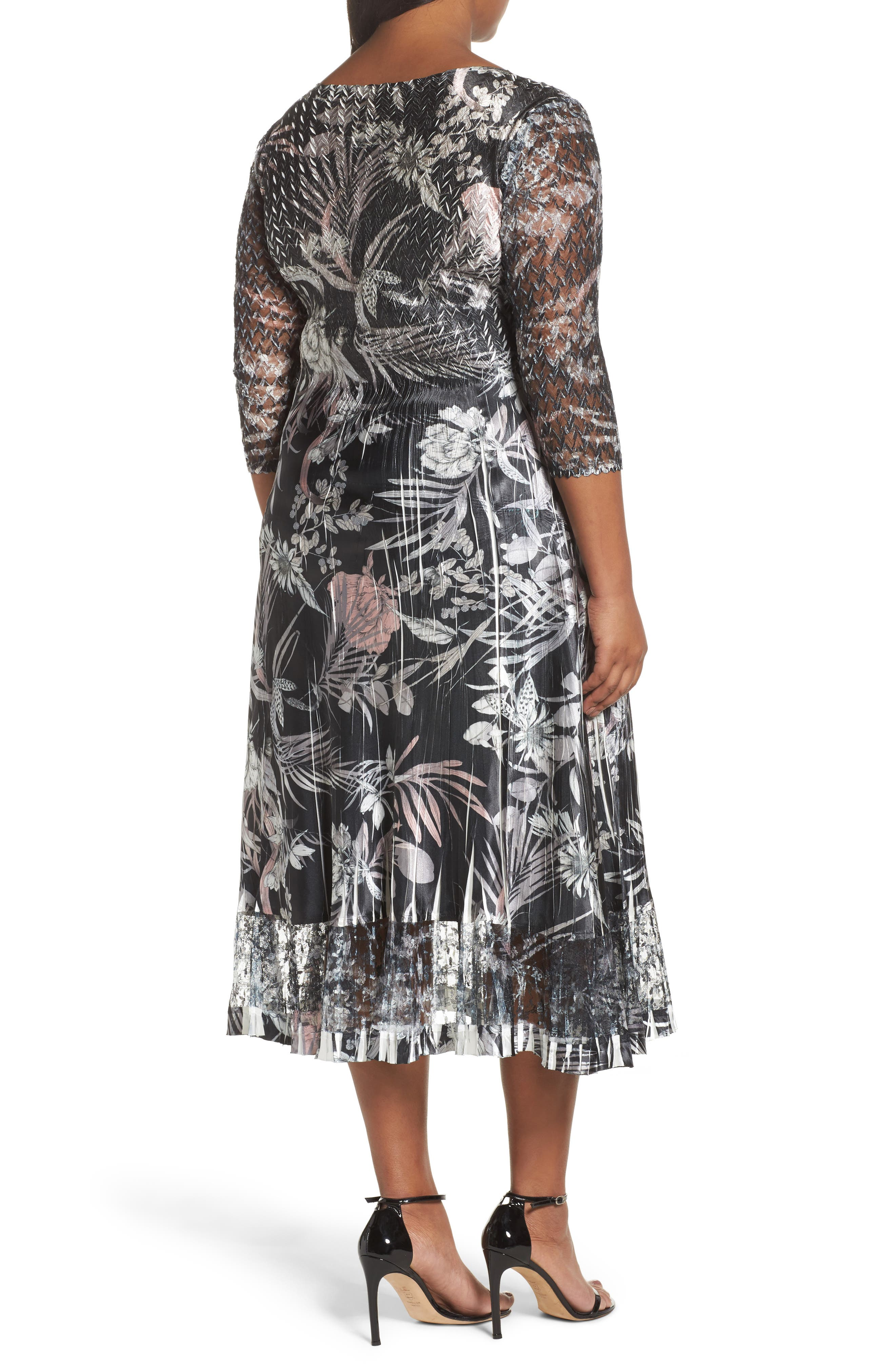 Floral Print Charmeuse Midi Dress,                             Alternate thumbnail 2, color,