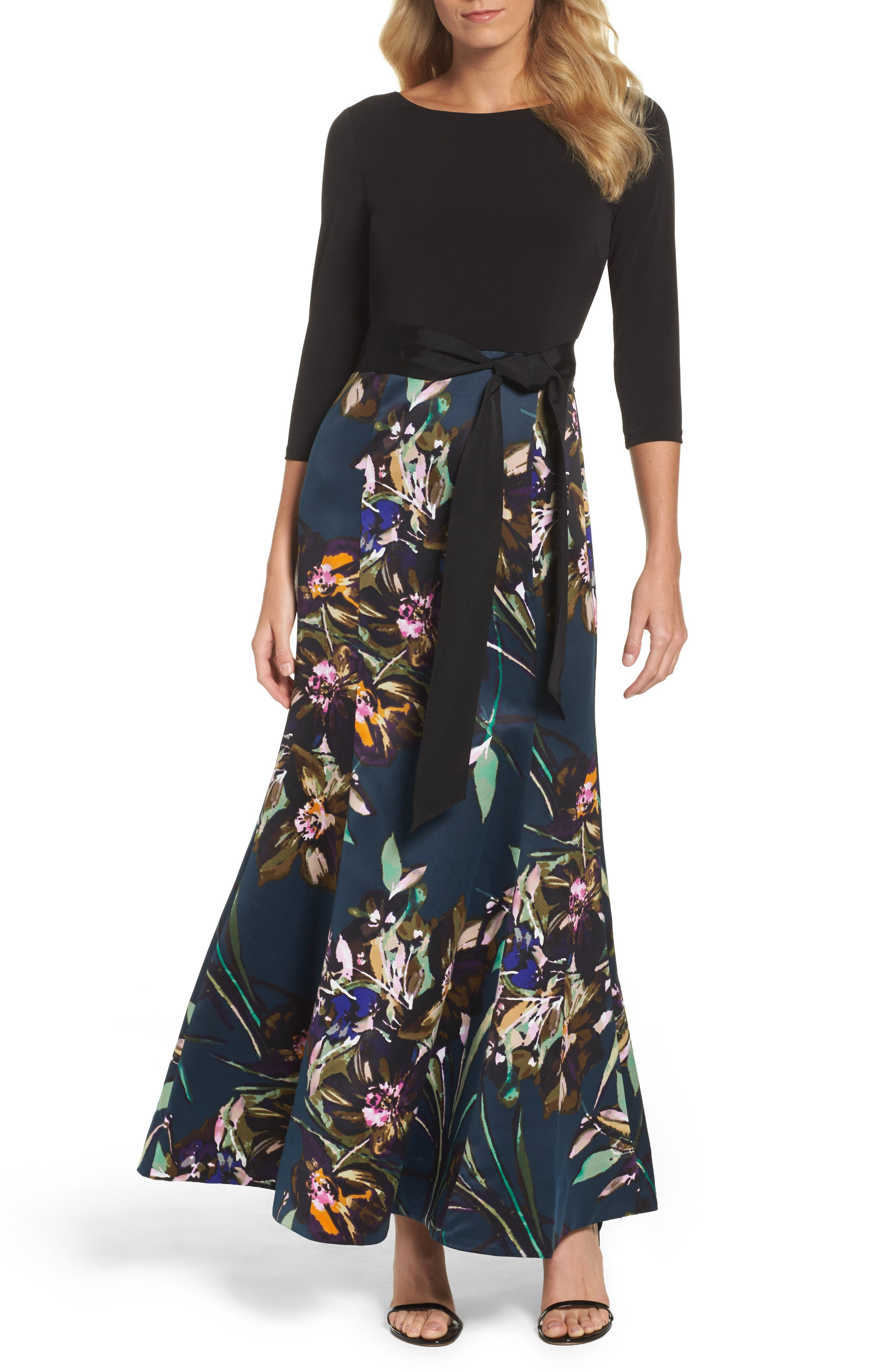 Jersey & Print Satin Trumpet Gown,                         Main,                         color, 001