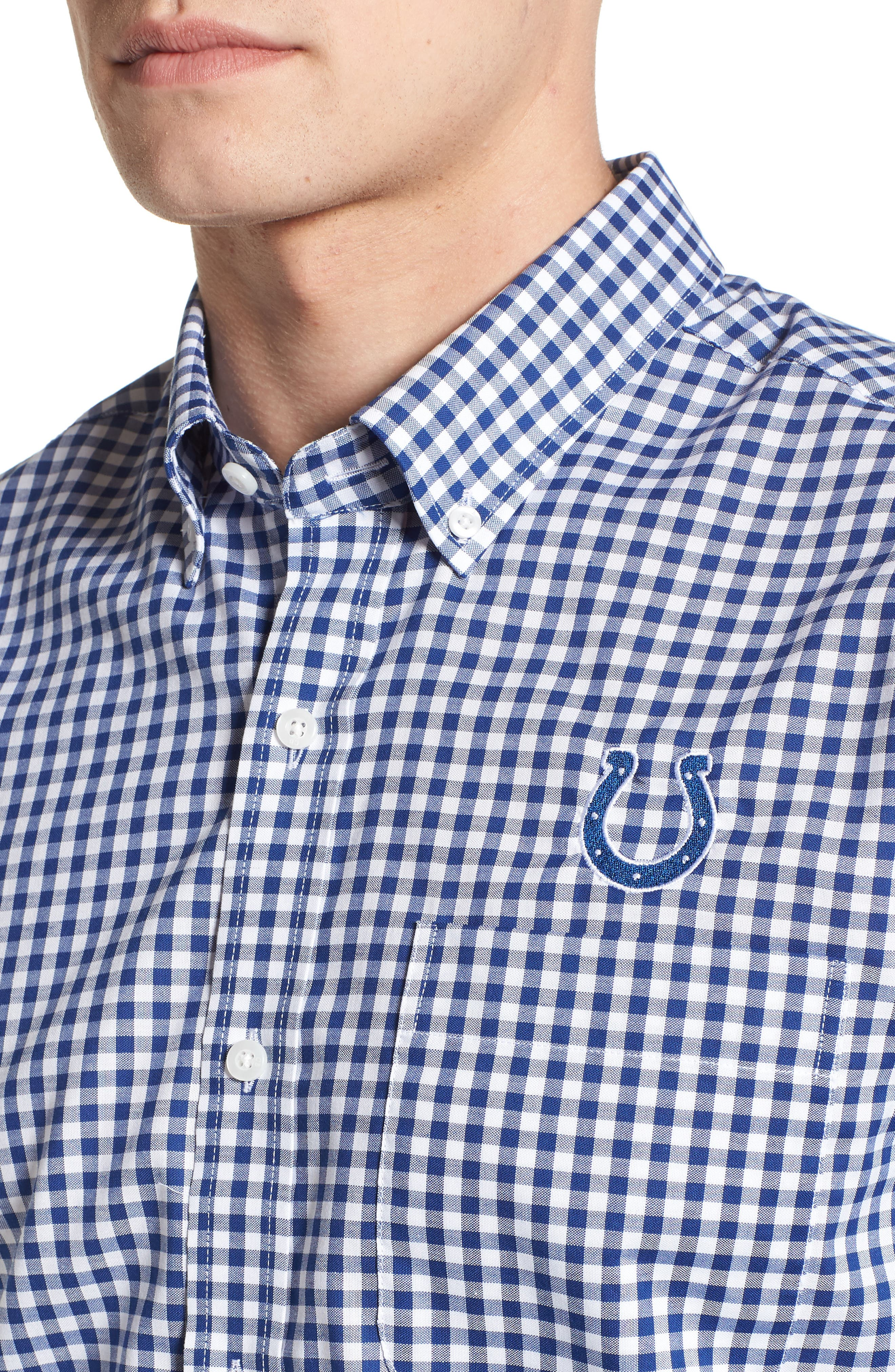 League Indianapolis Colts Regular Fit Shirt,                             Alternate thumbnail 4, color,                             TOUR BLUE