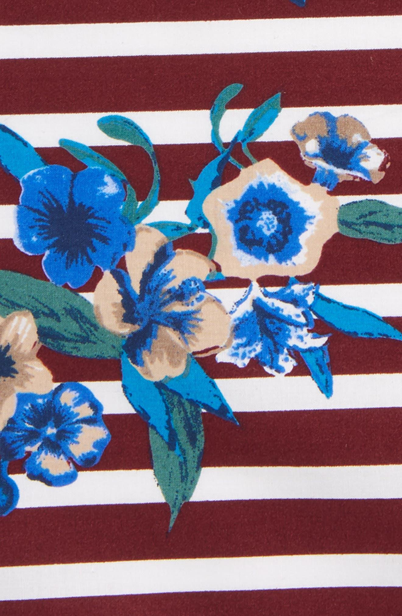 Stripe Flower Cotton Pocket Square,                             Alternate thumbnail 3, color,                             930
