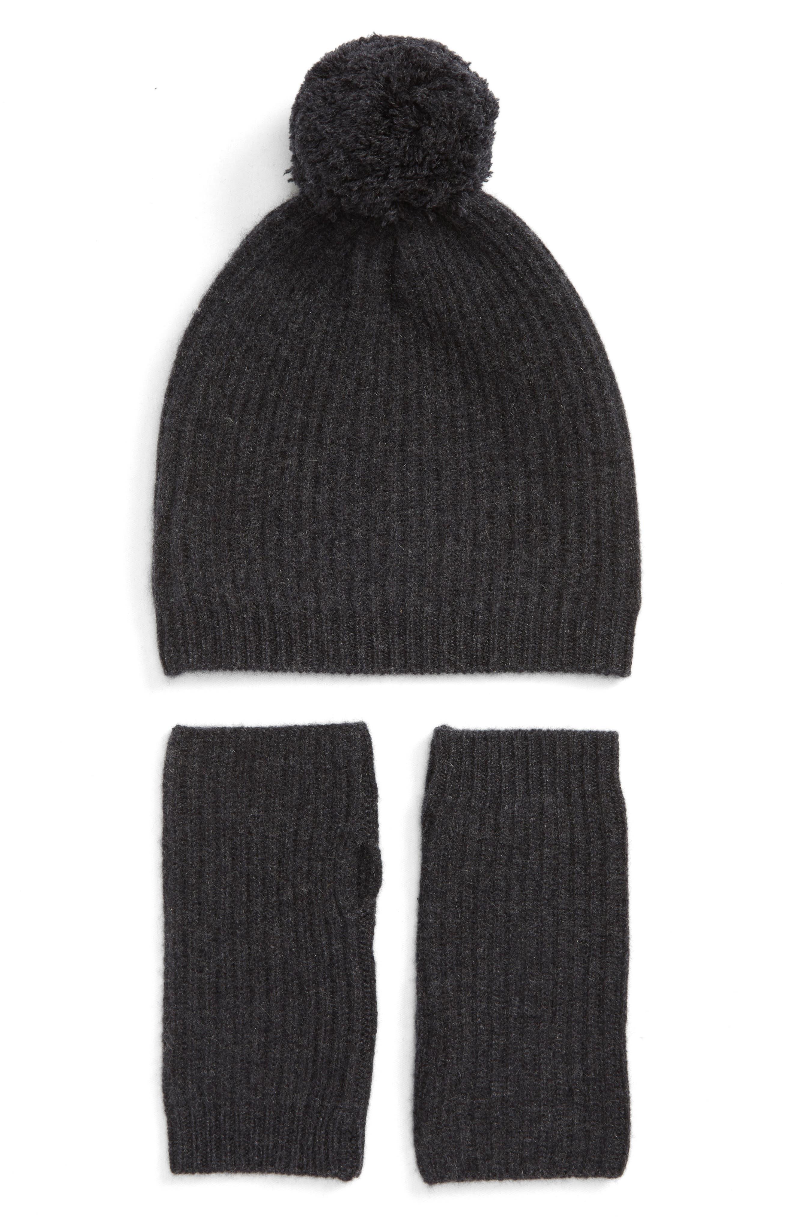 Cashmere Coordinates Hat & Arm Warmer Set,                             Main thumbnail 1, color,                             BLACK ROCK HEATHER
