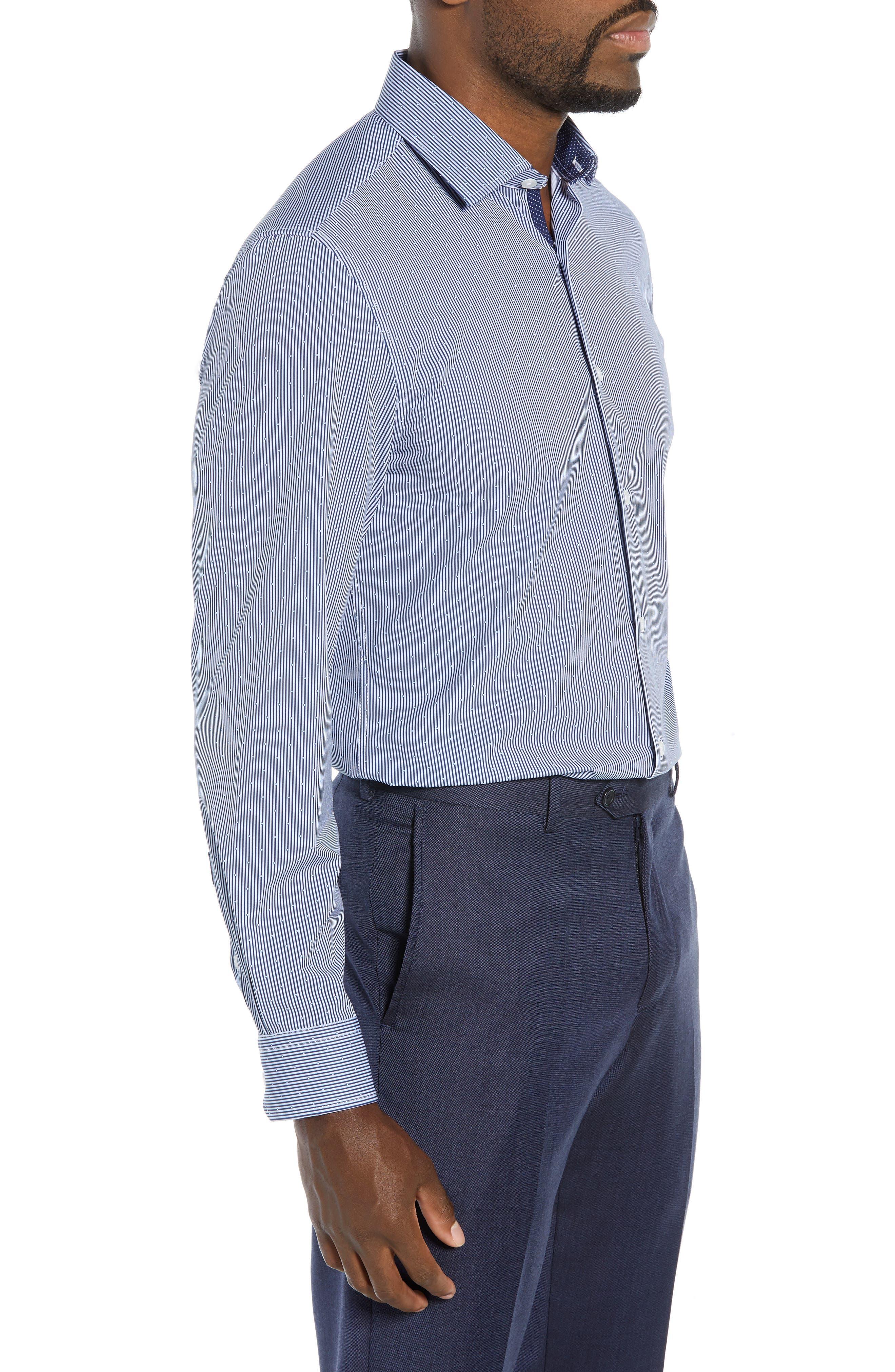 Trim Fit Stretch Stripe Dress Shirt,                             Alternate thumbnail 4, color,                             BLUE