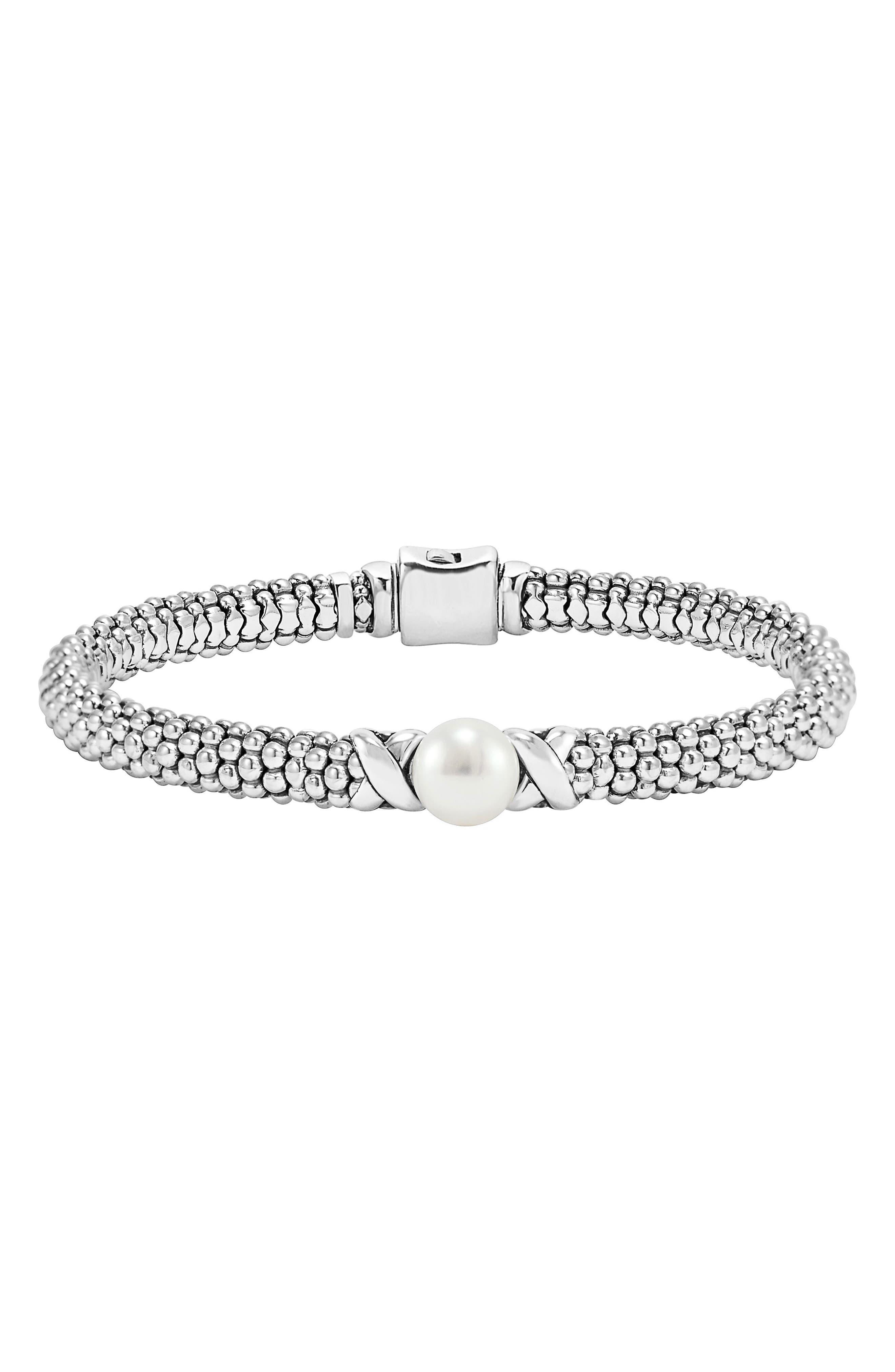 'Luna' Pearl Rope Bracelet,                             Main thumbnail 1, color,                             SILVER/ PEARL