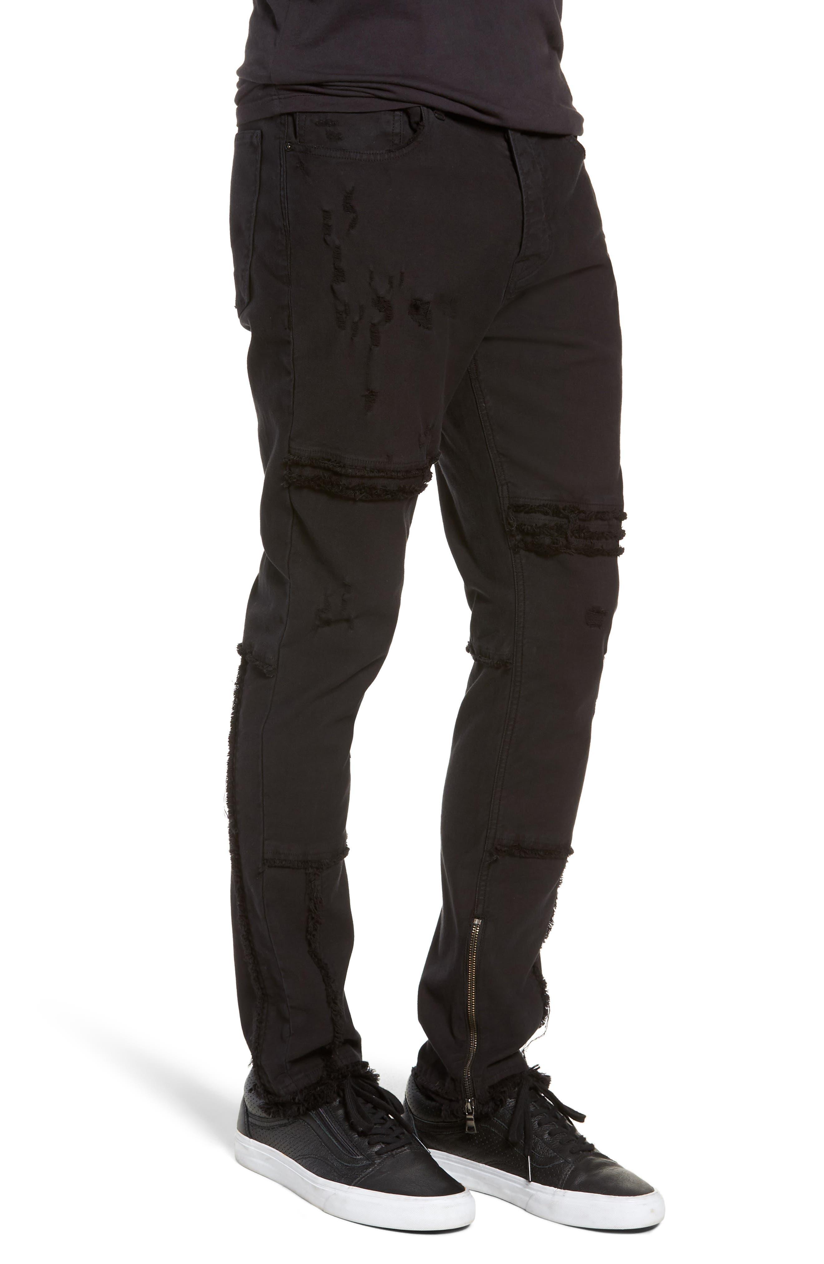 Vaughn Moto Skinny Fit Jeans,                             Alternate thumbnail 3, color,                             FARRELL