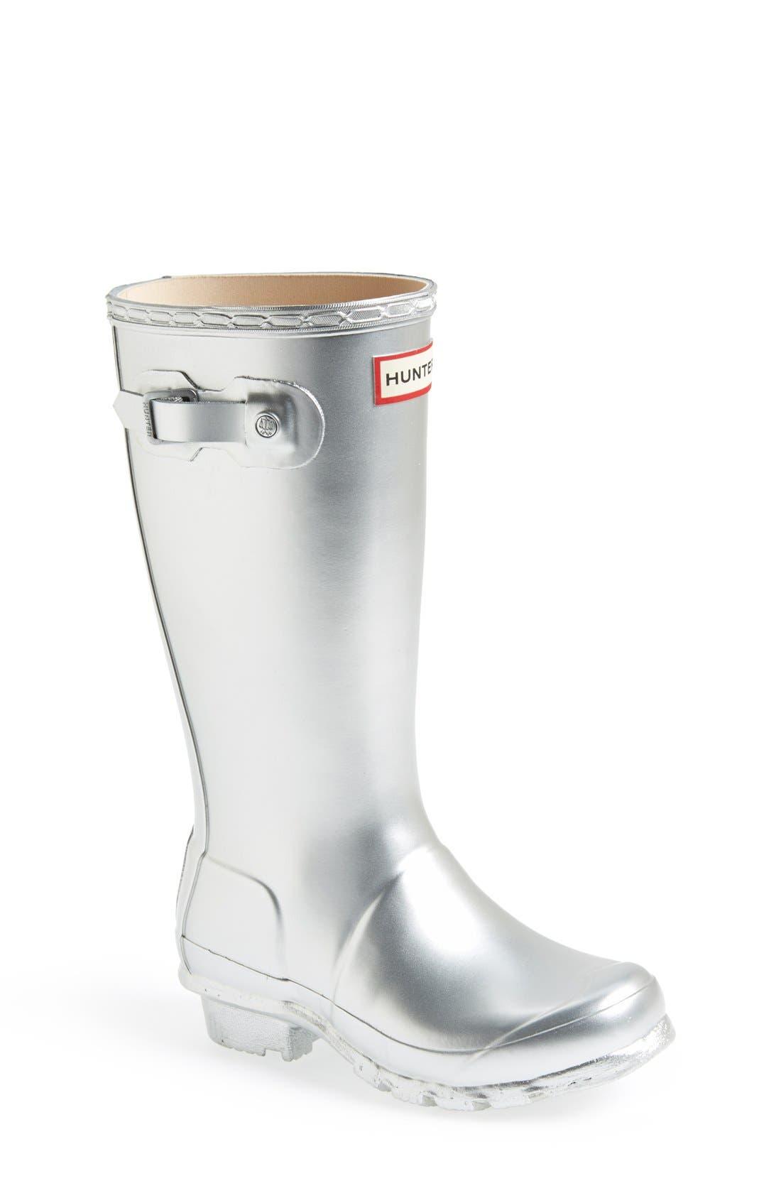 HUNTER,                             Original Waterproof Rain Boot,                             Main thumbnail 1, color,                             SILVER