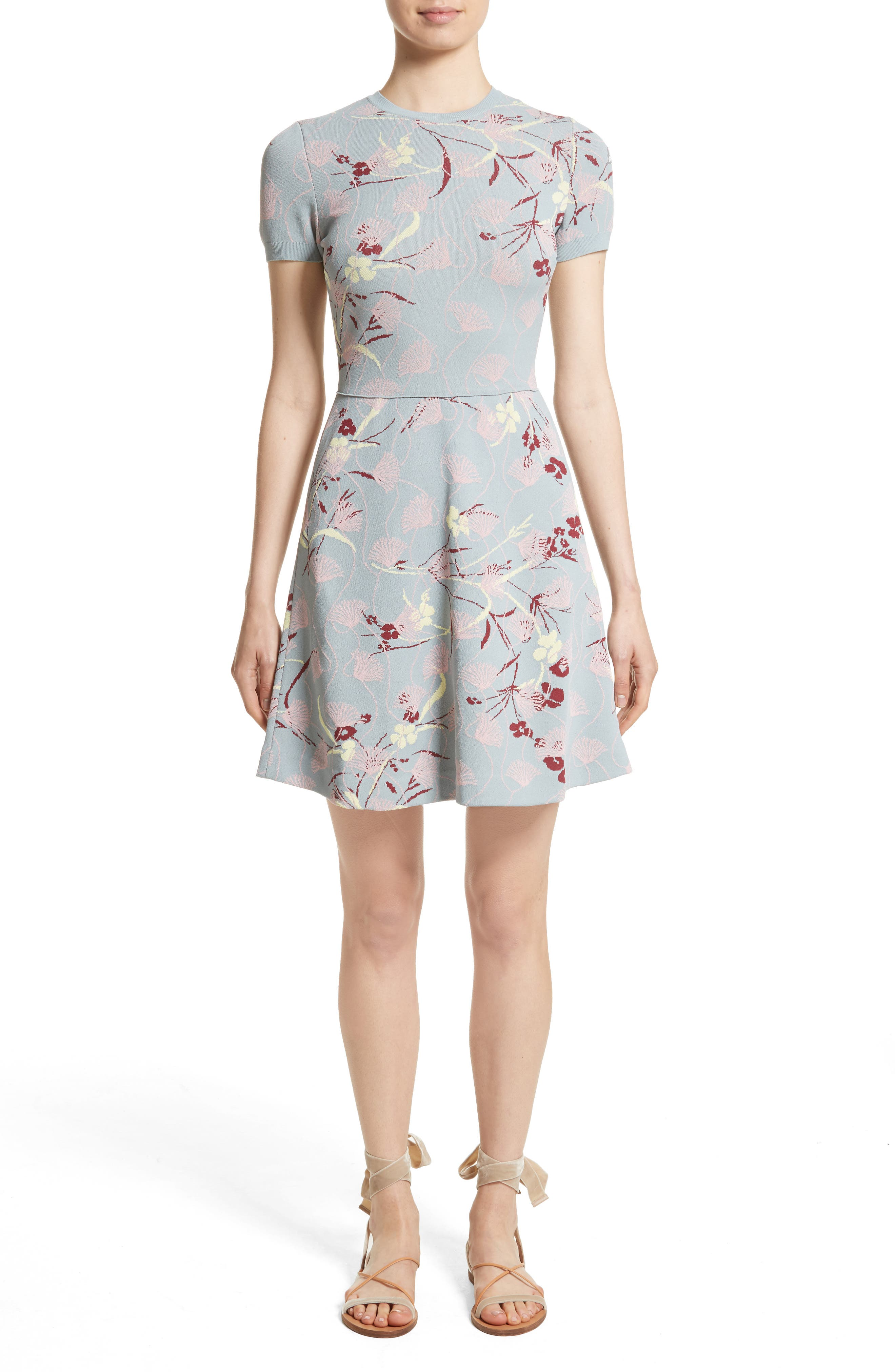 Floral Jacquard Knit Dress,                             Main thumbnail 1, color,