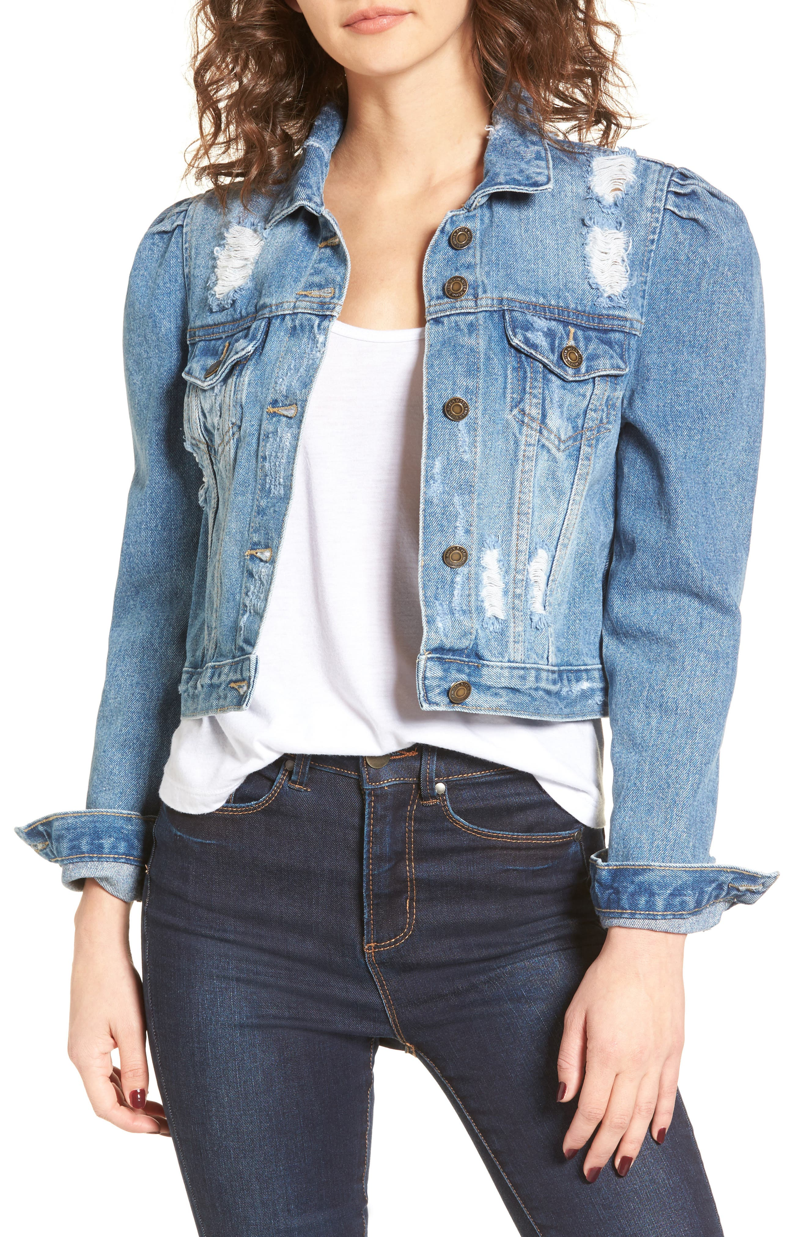 Distressed Denim Jacket,                             Main thumbnail 1, color,                             425
