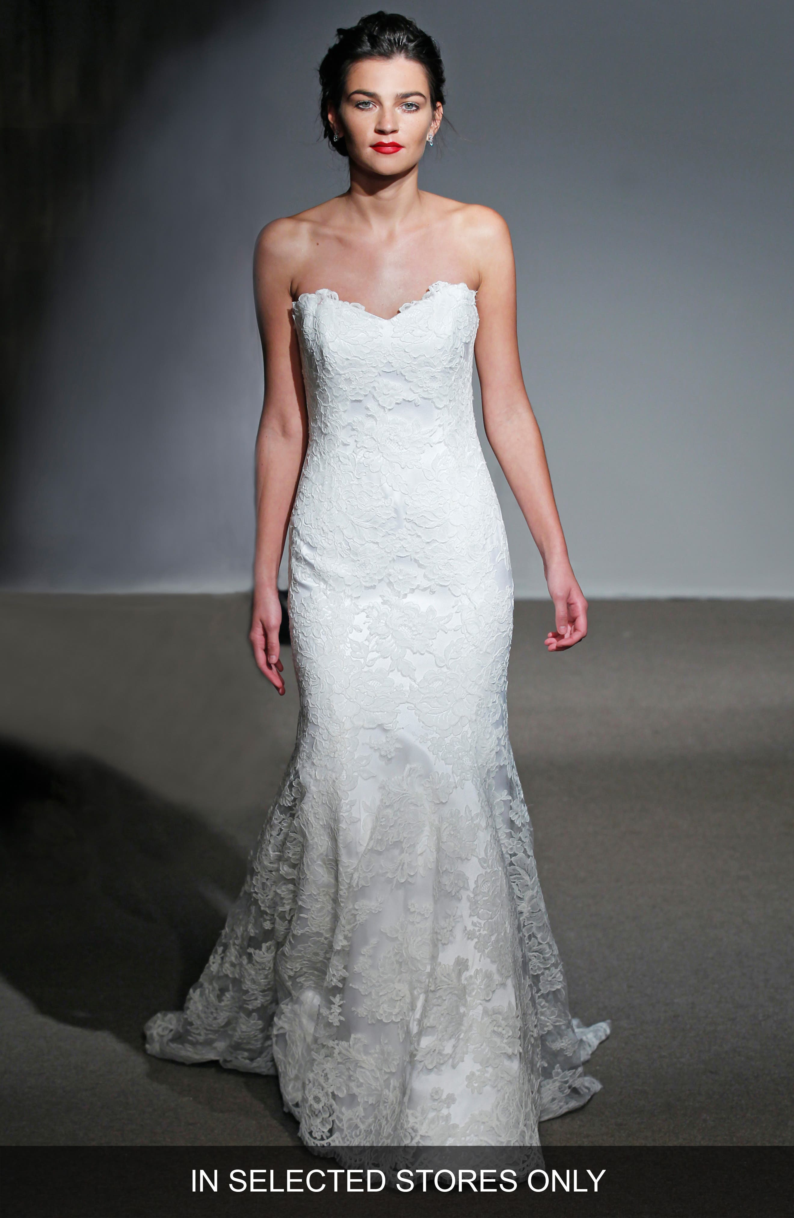 ANNA MAIER COUTURE,                             Mirielle Strapless Corded Lace Trumpet Gown,                             Alternate thumbnail 2, color,                             100