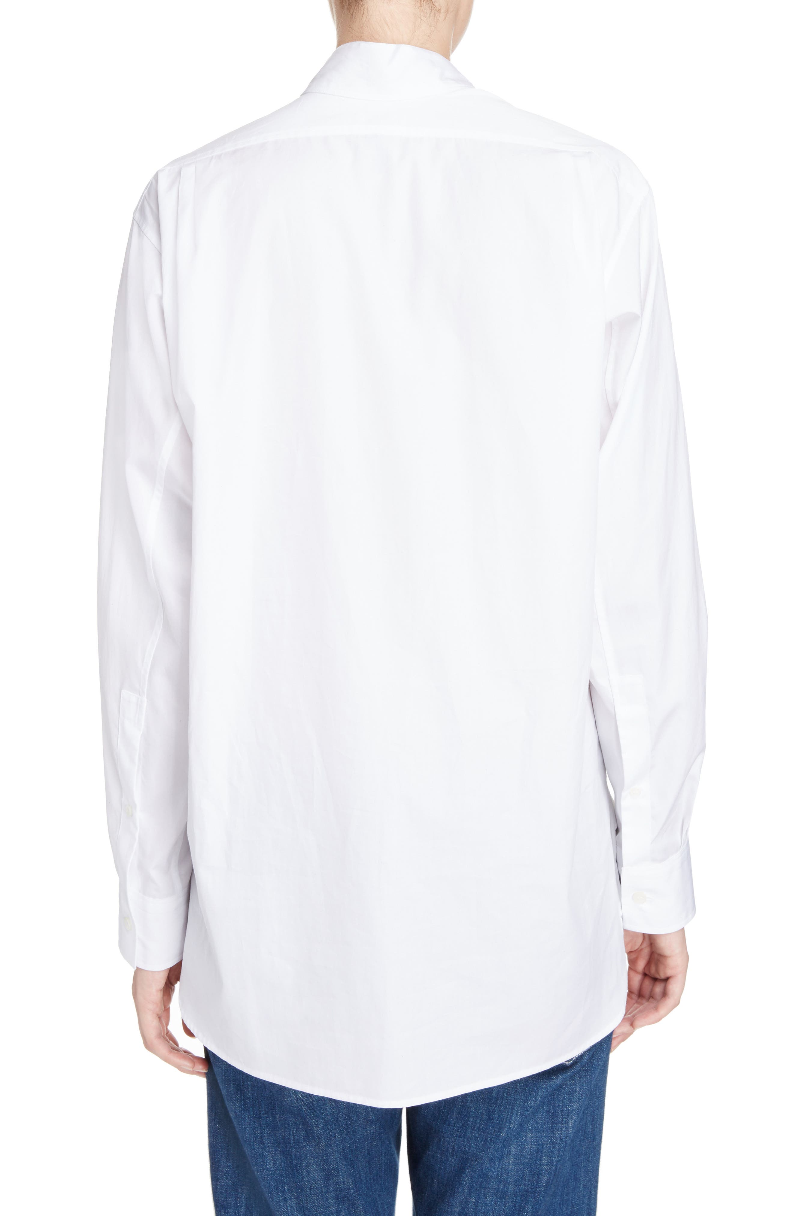 Cotton Poplin Patchwork Shirt,                             Alternate thumbnail 2, color,                             WHITE