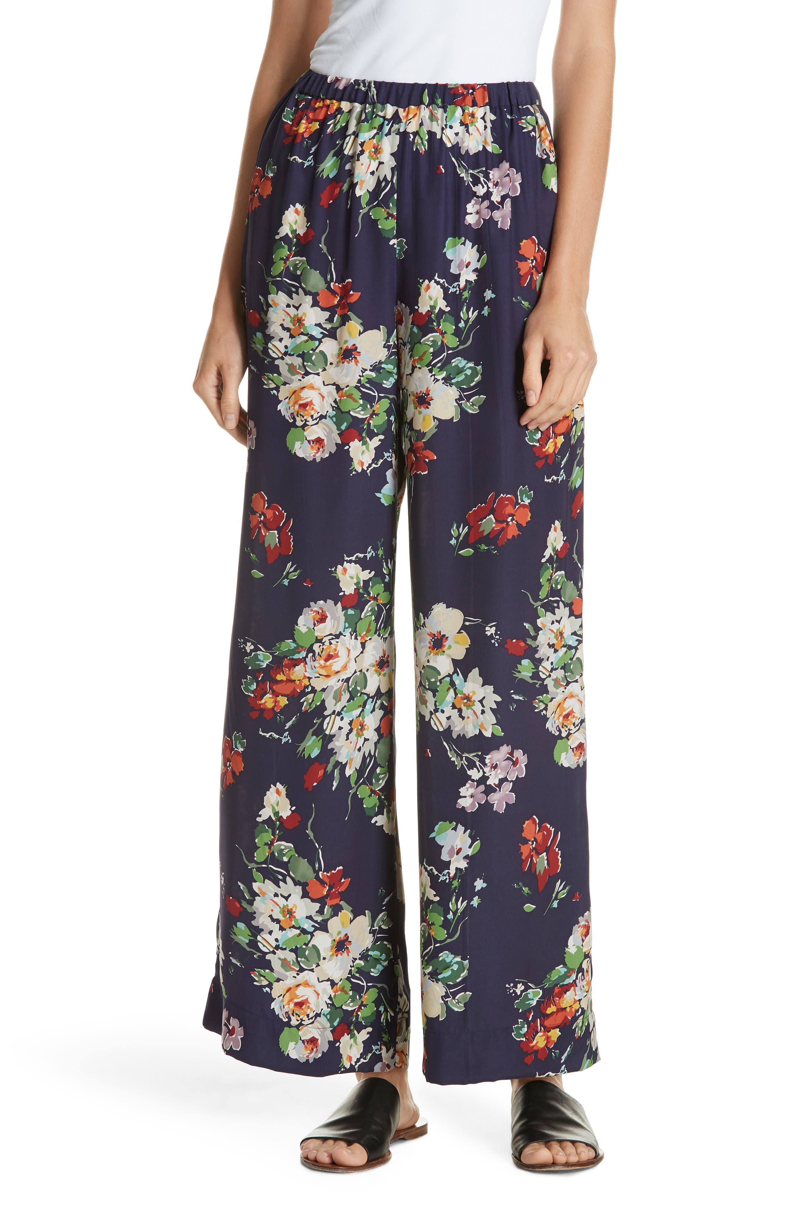 Chaplin Floral Silk Trousers,                         Main,                         color, NIGHTFALL FLORAL PRINT