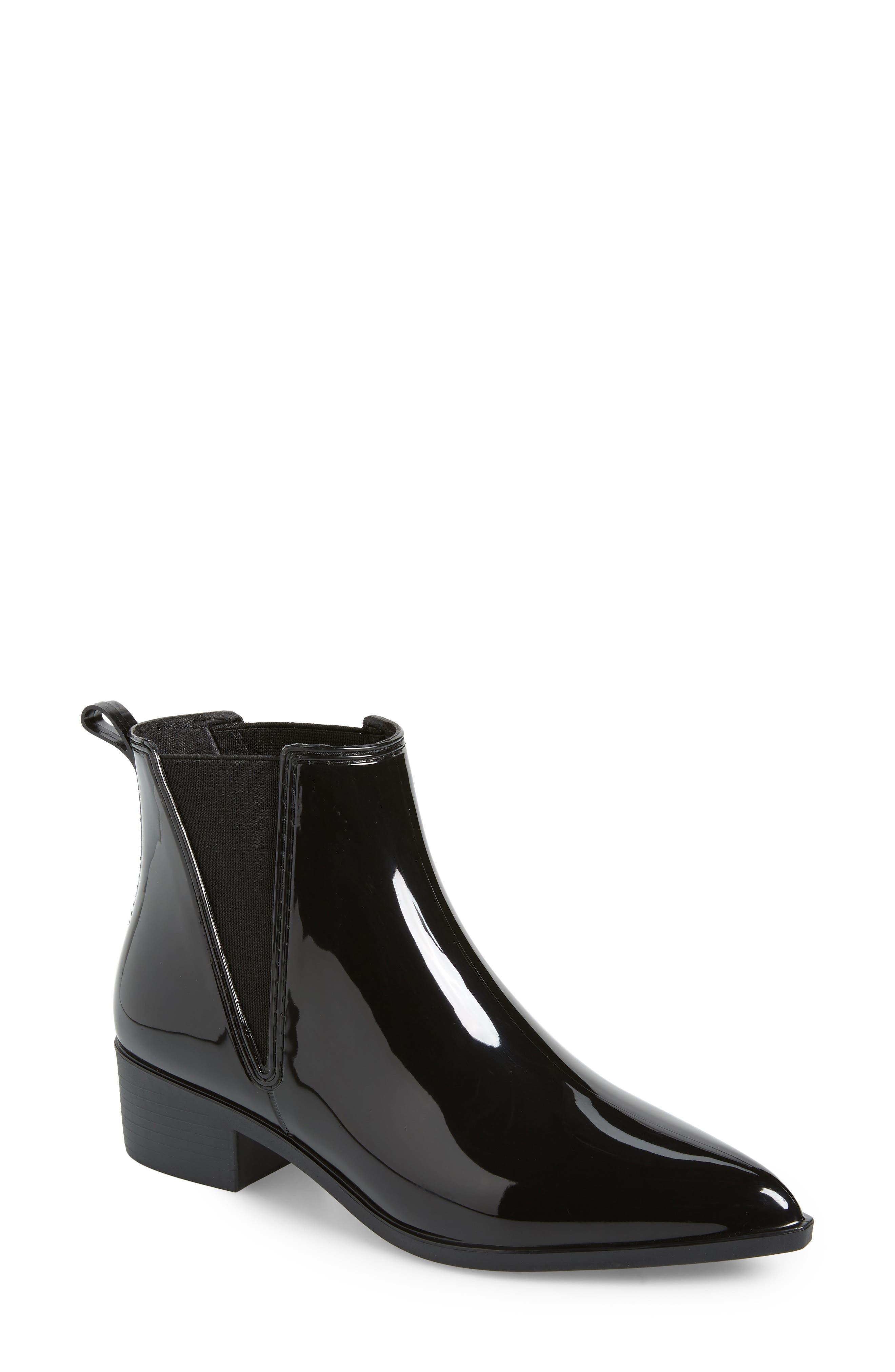Mist Chelsea Waterproof Rain Boot,                             Main thumbnail 1, color,                             BLACK SHINY