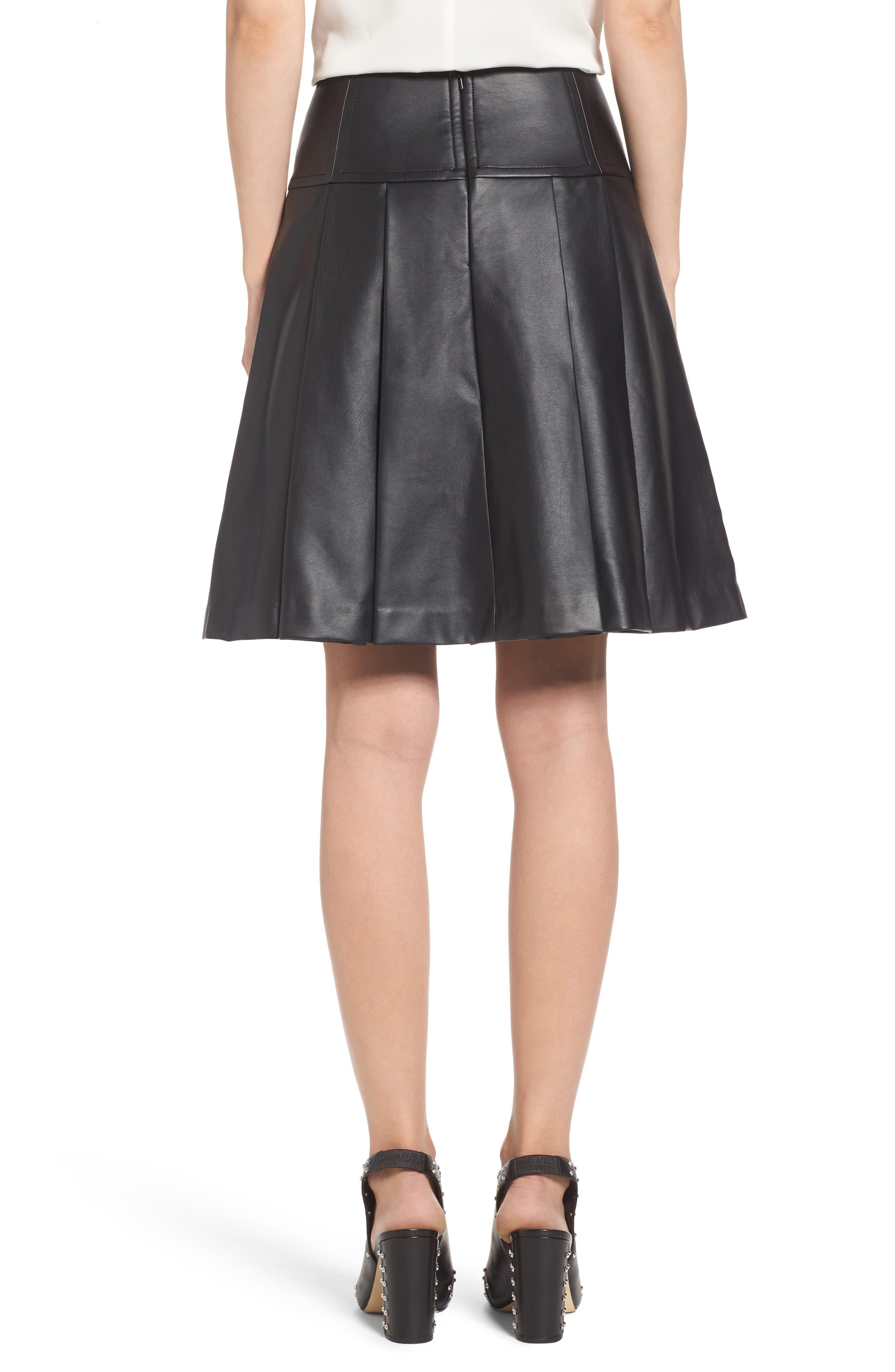 Pleat Faux Leather Skirt,                             Alternate thumbnail 2, color,                             001