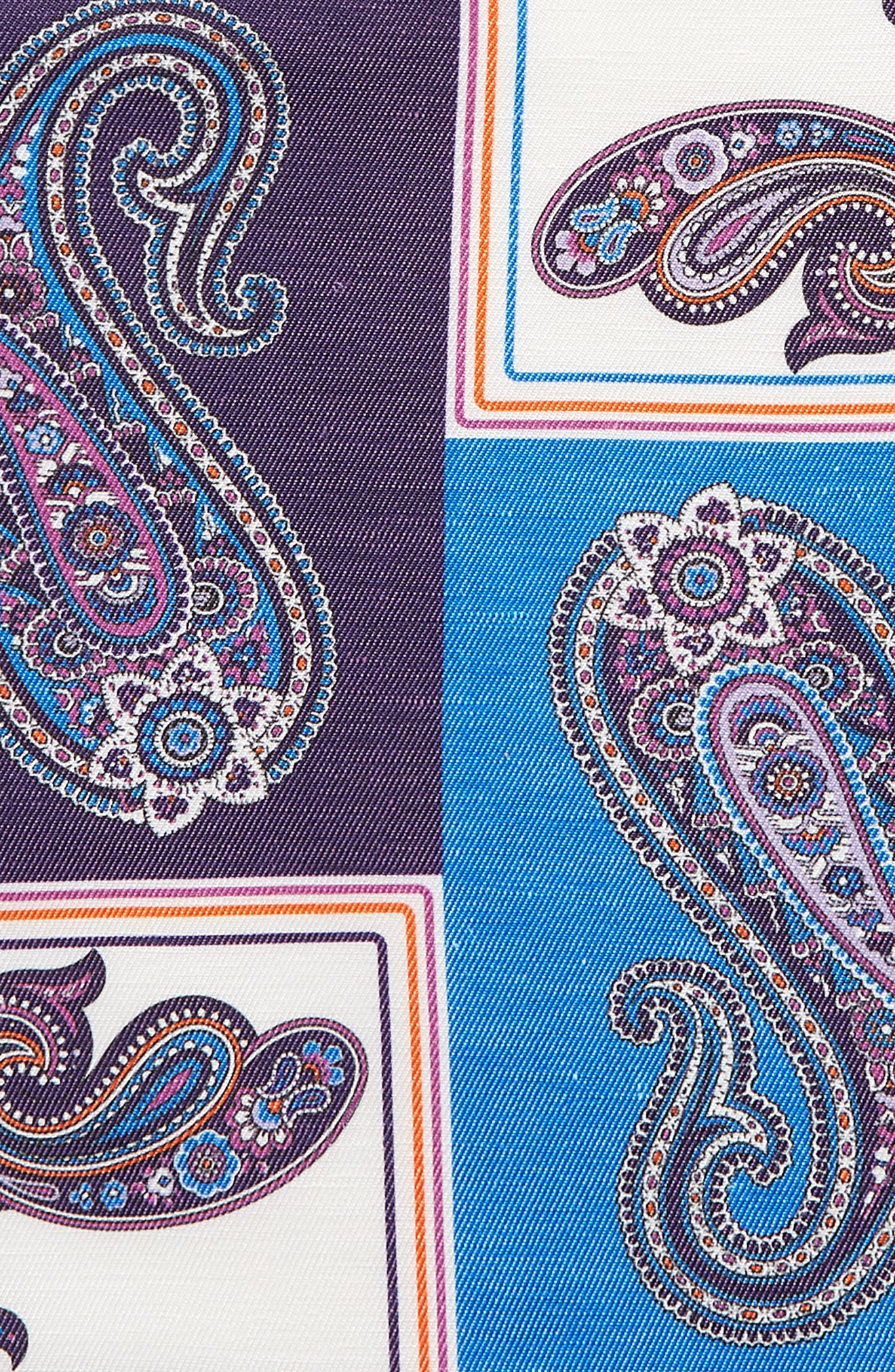 Paisley Linen & Silk Pocket Square,                             Alternate thumbnail 3, color,                             400