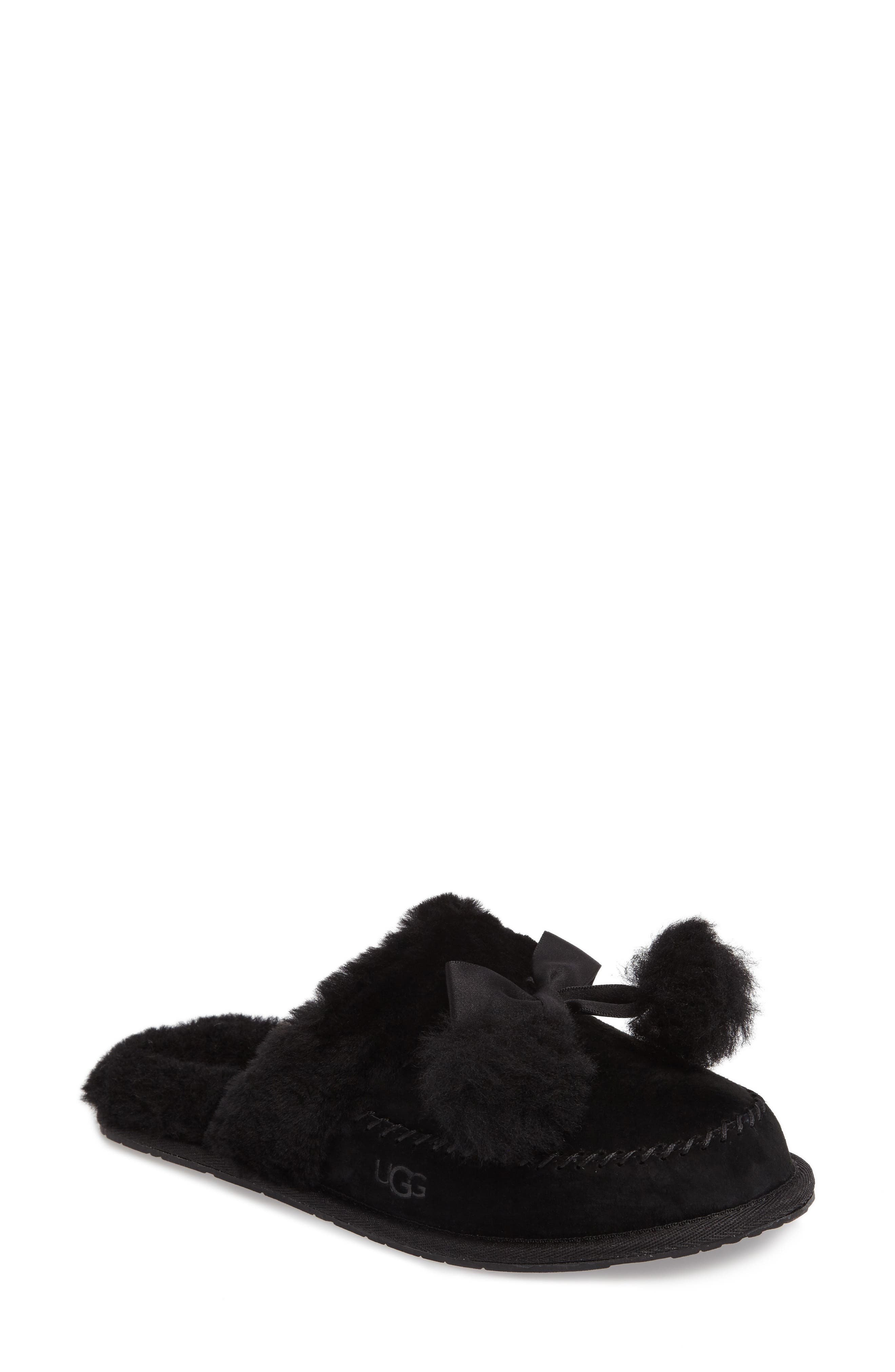 UGG<SUP>®</SUP> Hafnier Genuine Shearling Slipper, Main, color, 001