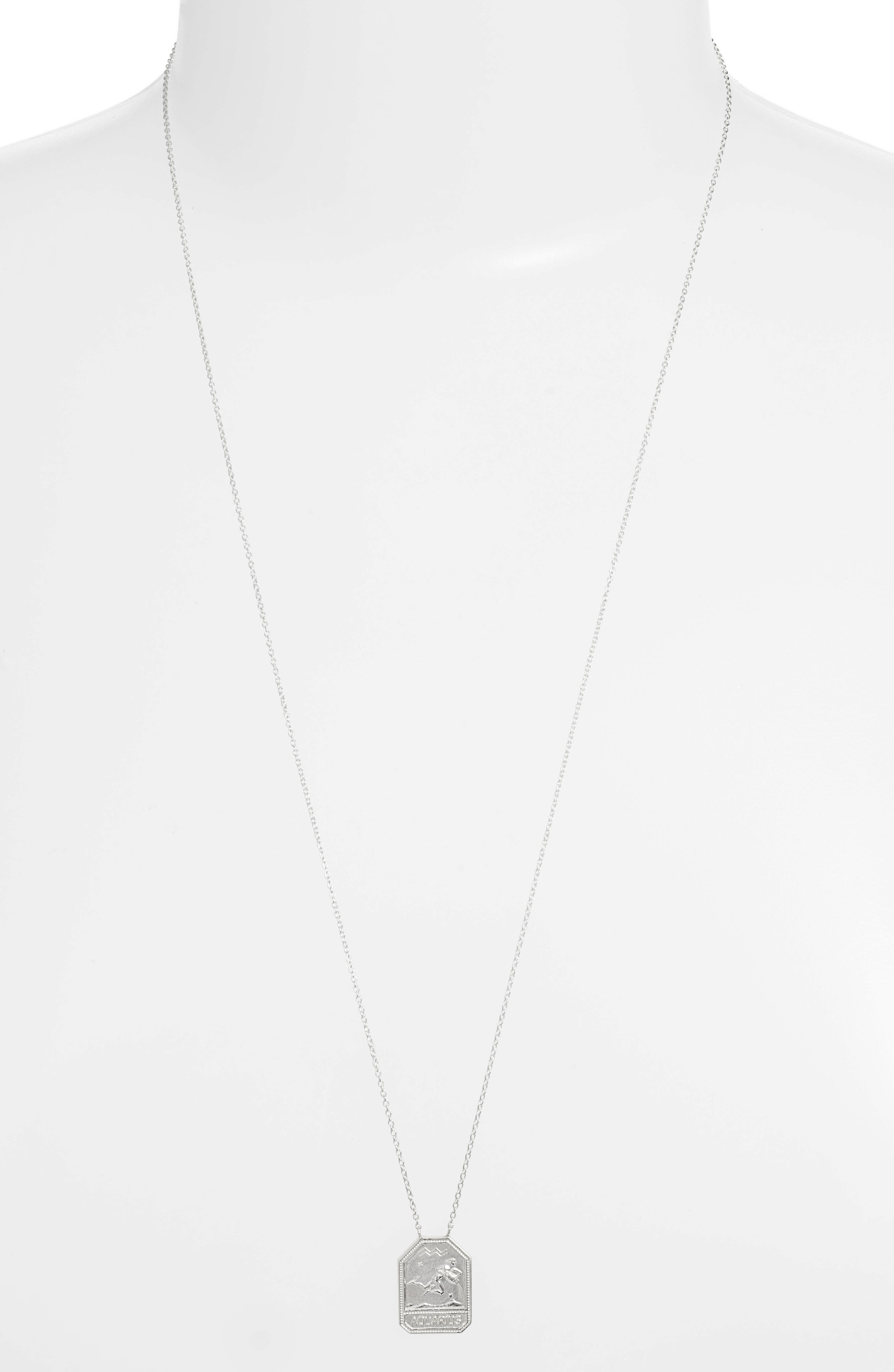 Jewelry Kiana Zodiac Pendant Necklace,                             Main thumbnail 1, color,                             AQUARIUS-SILVER