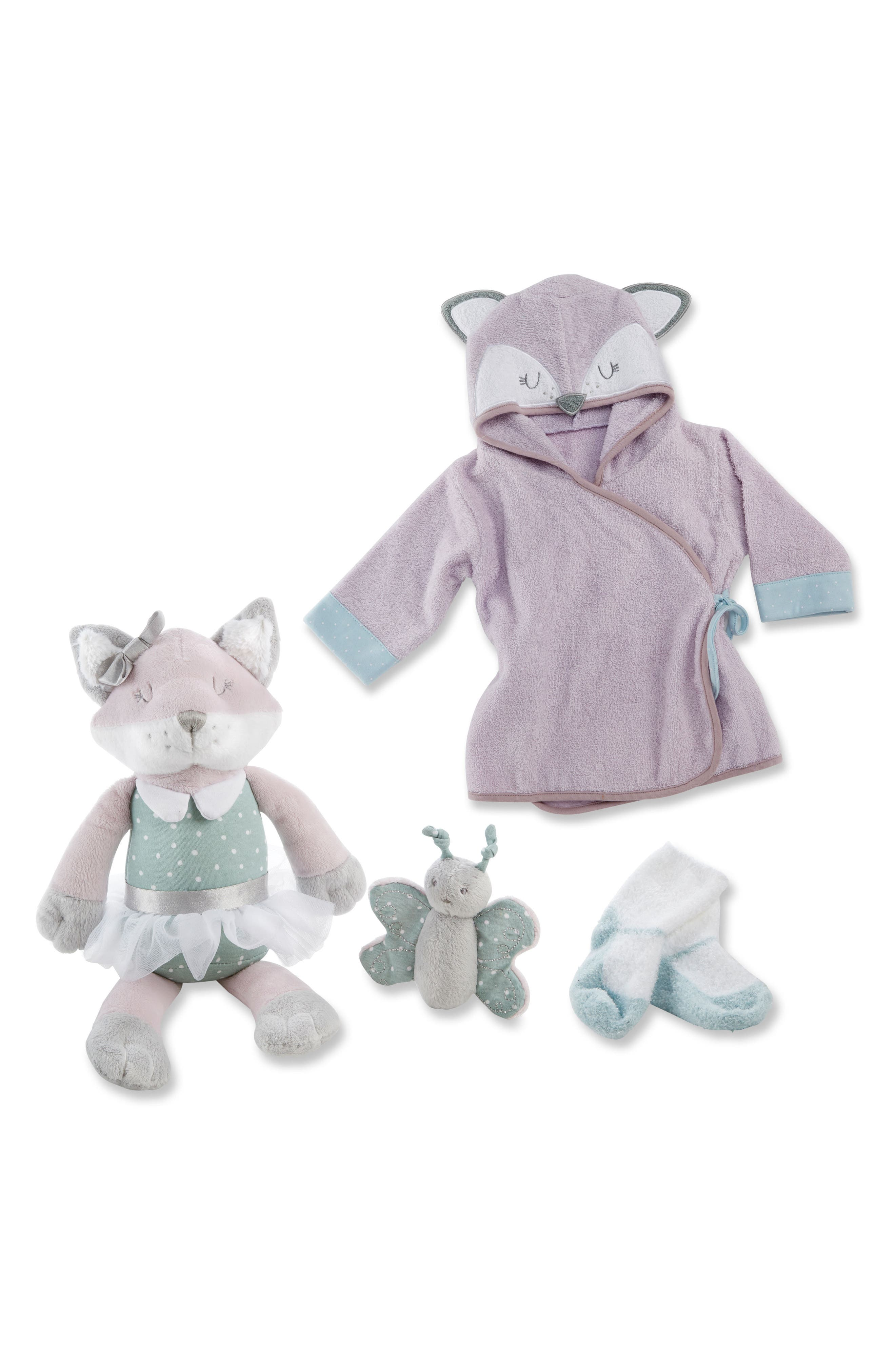 Forest Friends Fox Plush Robe, Fuzzy Socks, Stuffed Animal & Rattle Set,                         Main,                         color, PURPLE/ AQUA/ WHITE