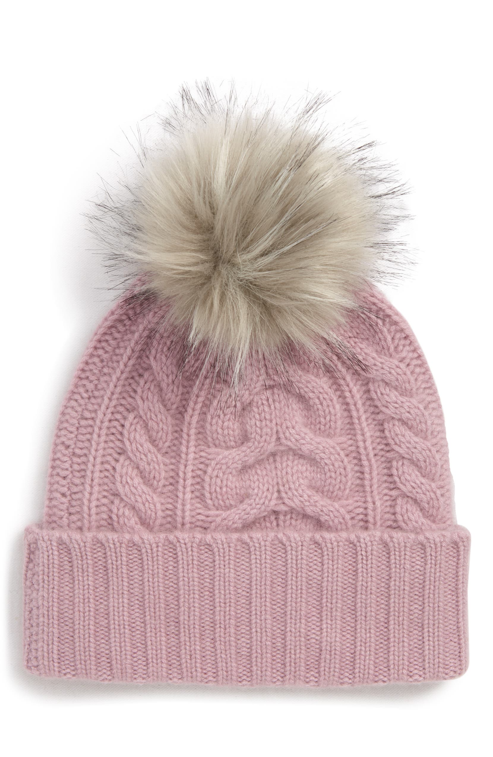 Halogen® Cashmere Cable Knit Beanie with Faux Fur Pom  34aabbaa82f