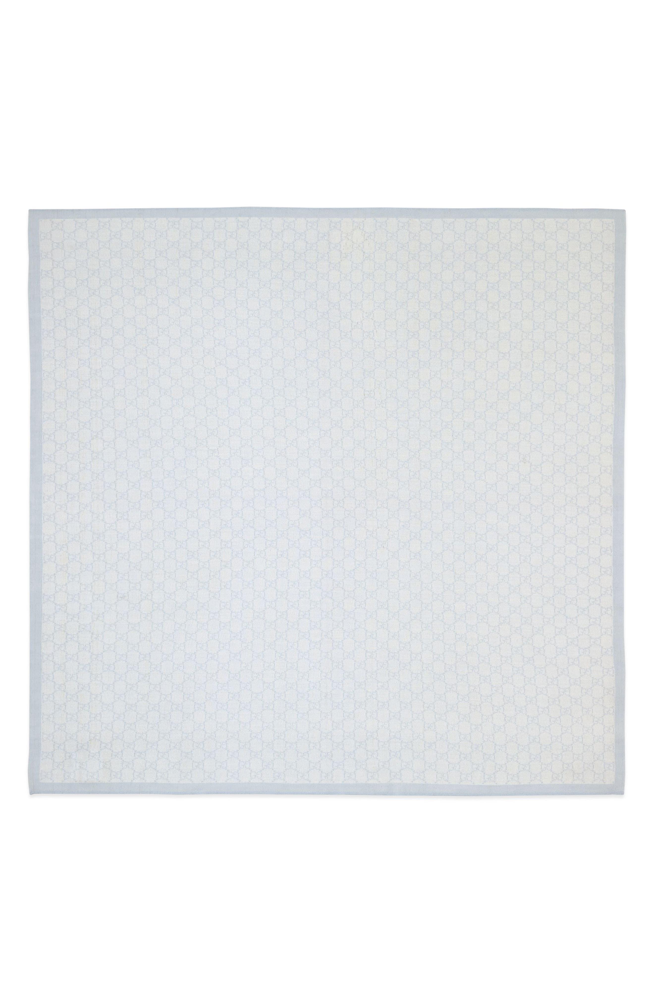 Wool Baby Blanket,                             Alternate thumbnail 3, color,                             IVORY/ SKY BLUE