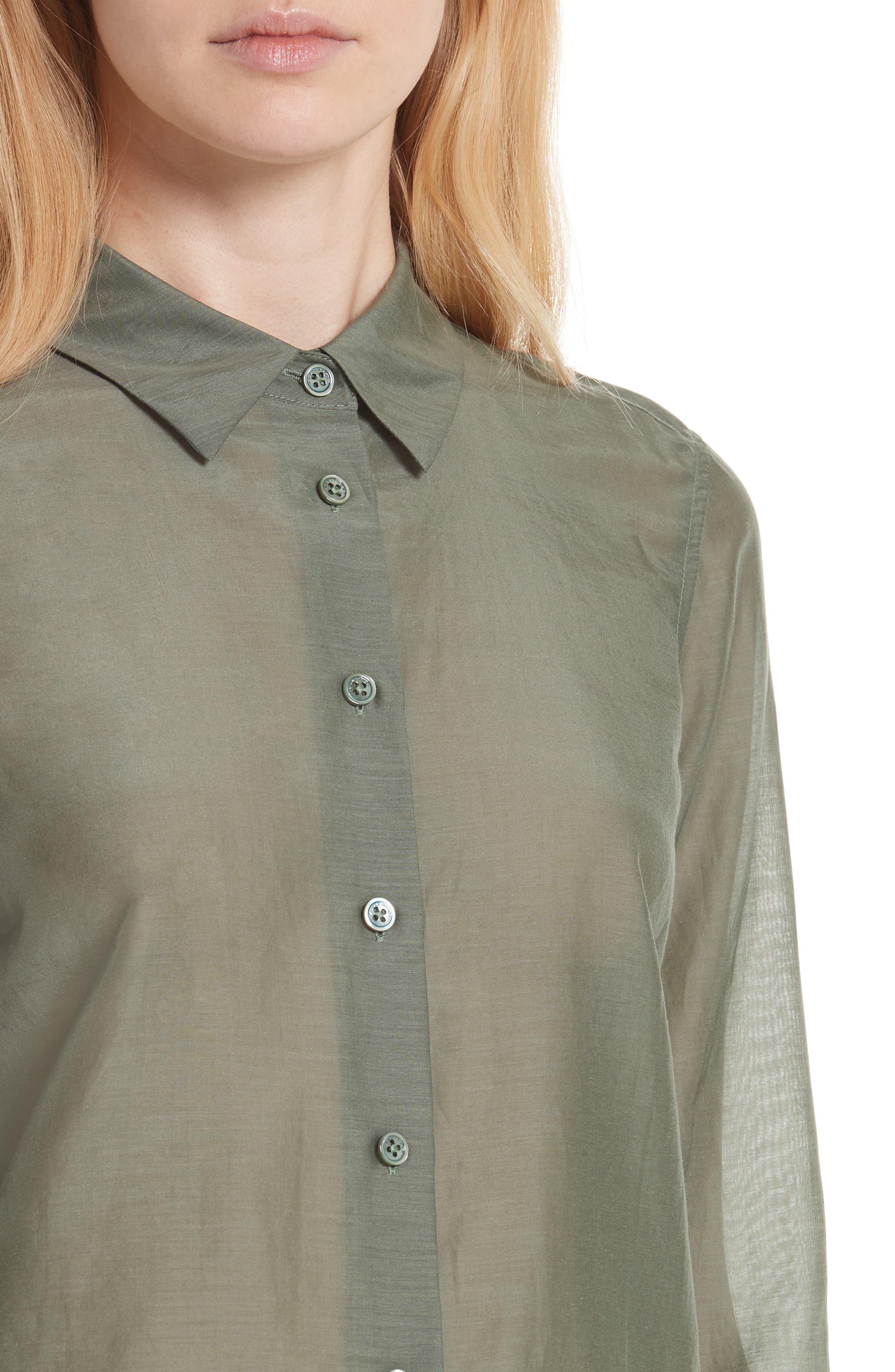 Essential Cotton & Silk Shirt,                             Alternate thumbnail 4, color,
