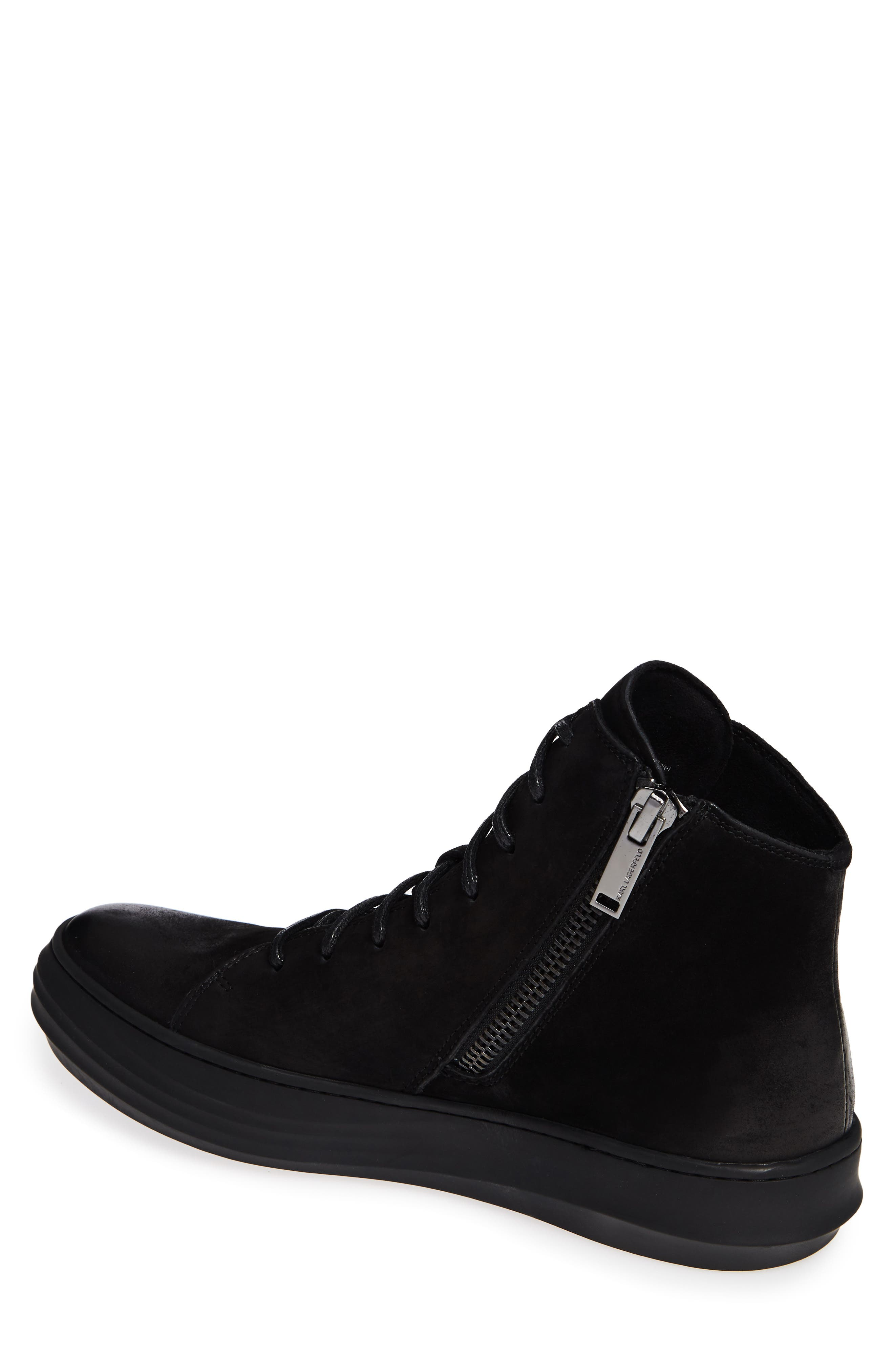 High Top Sneaker,                             Alternate thumbnail 2, color,                             BLACK LEATHER