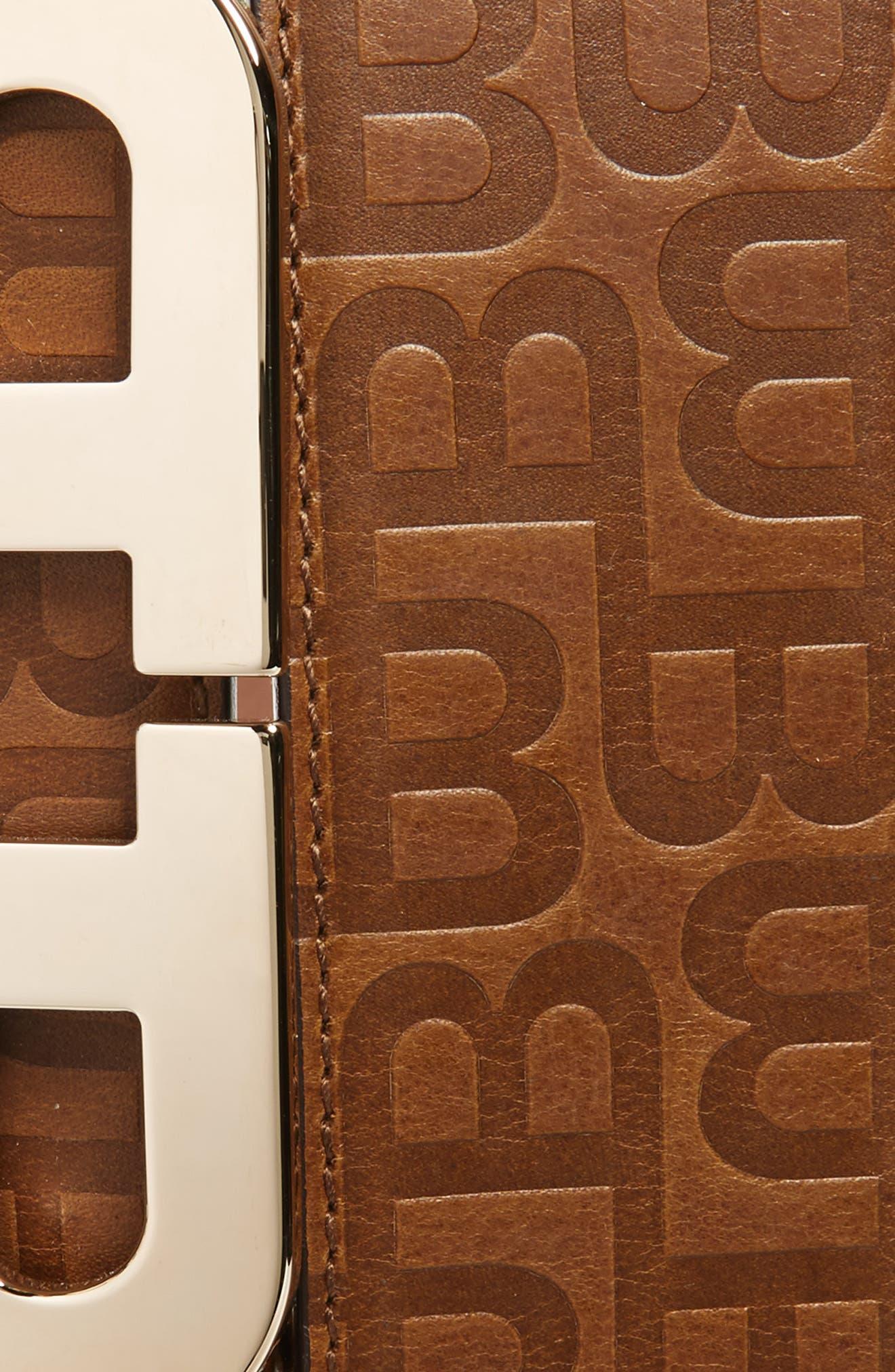 Stamped Logo Leather Belt,                             Alternate thumbnail 2, color,                             CIGAR