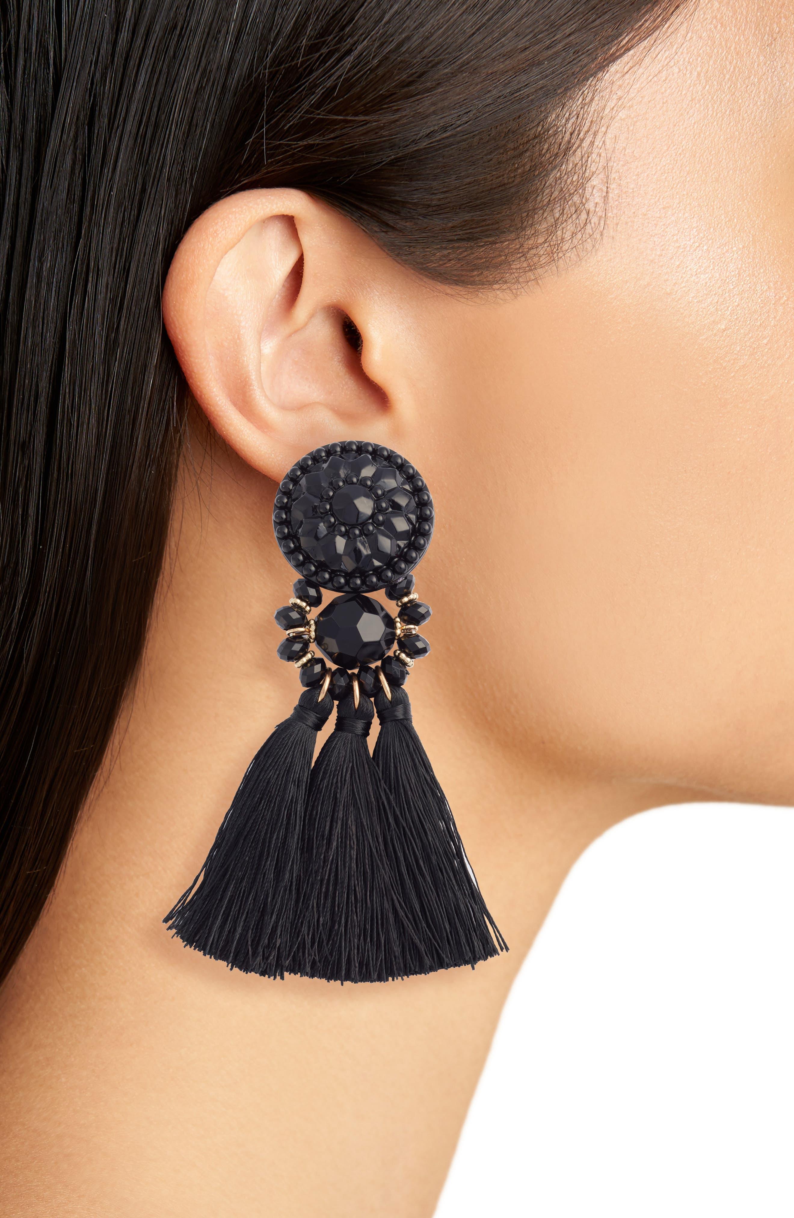 Flower Post Tassel Earrings,                             Alternate thumbnail 2, color,                             001